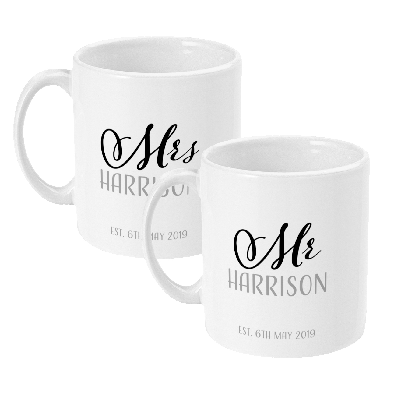Personalised Two Pack of Couples Mugs 11oz Mr and Mr, Mr and Mrs, Mrs and Mrs