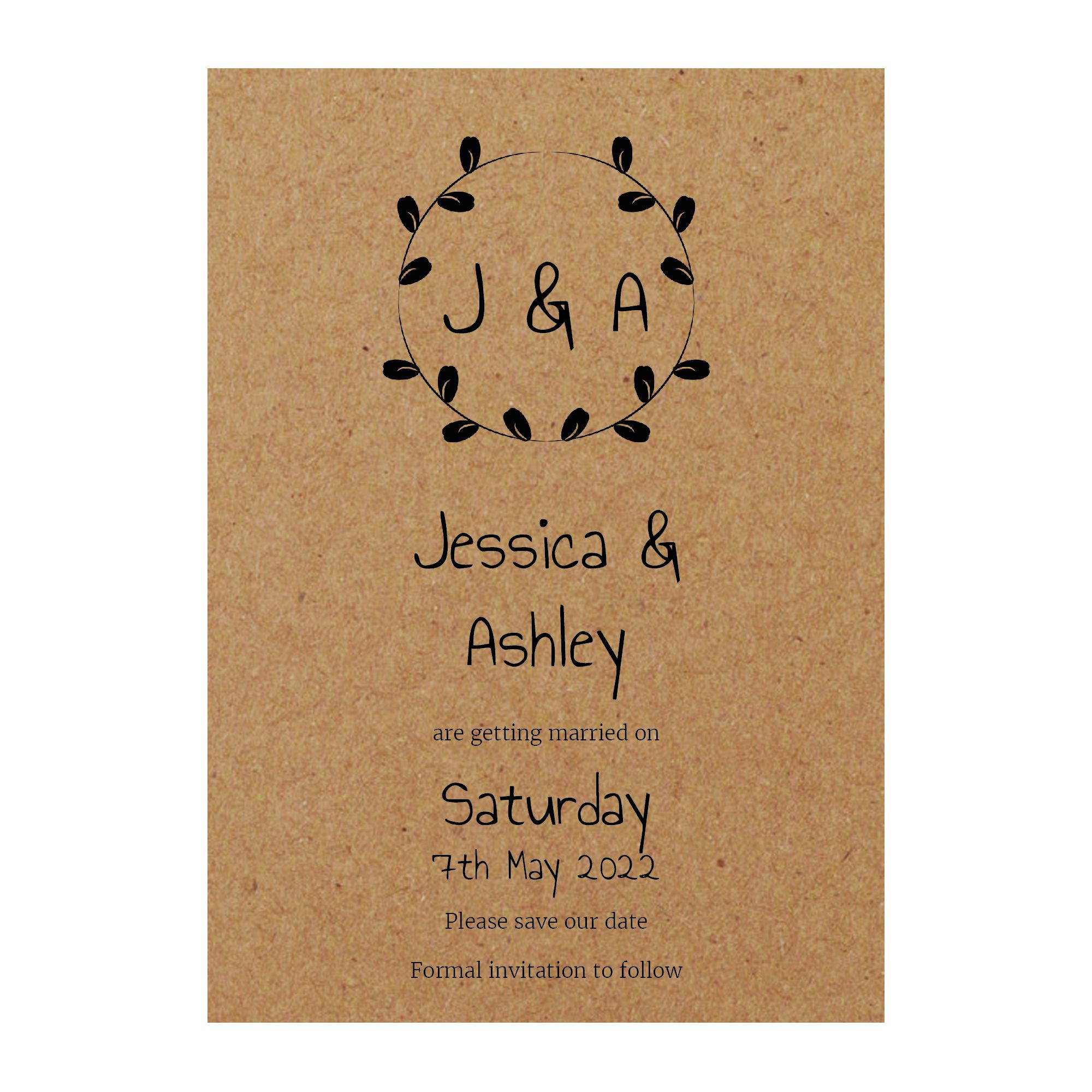 Recycled Brown Kraft Minimalist Floral Save the Date Cards