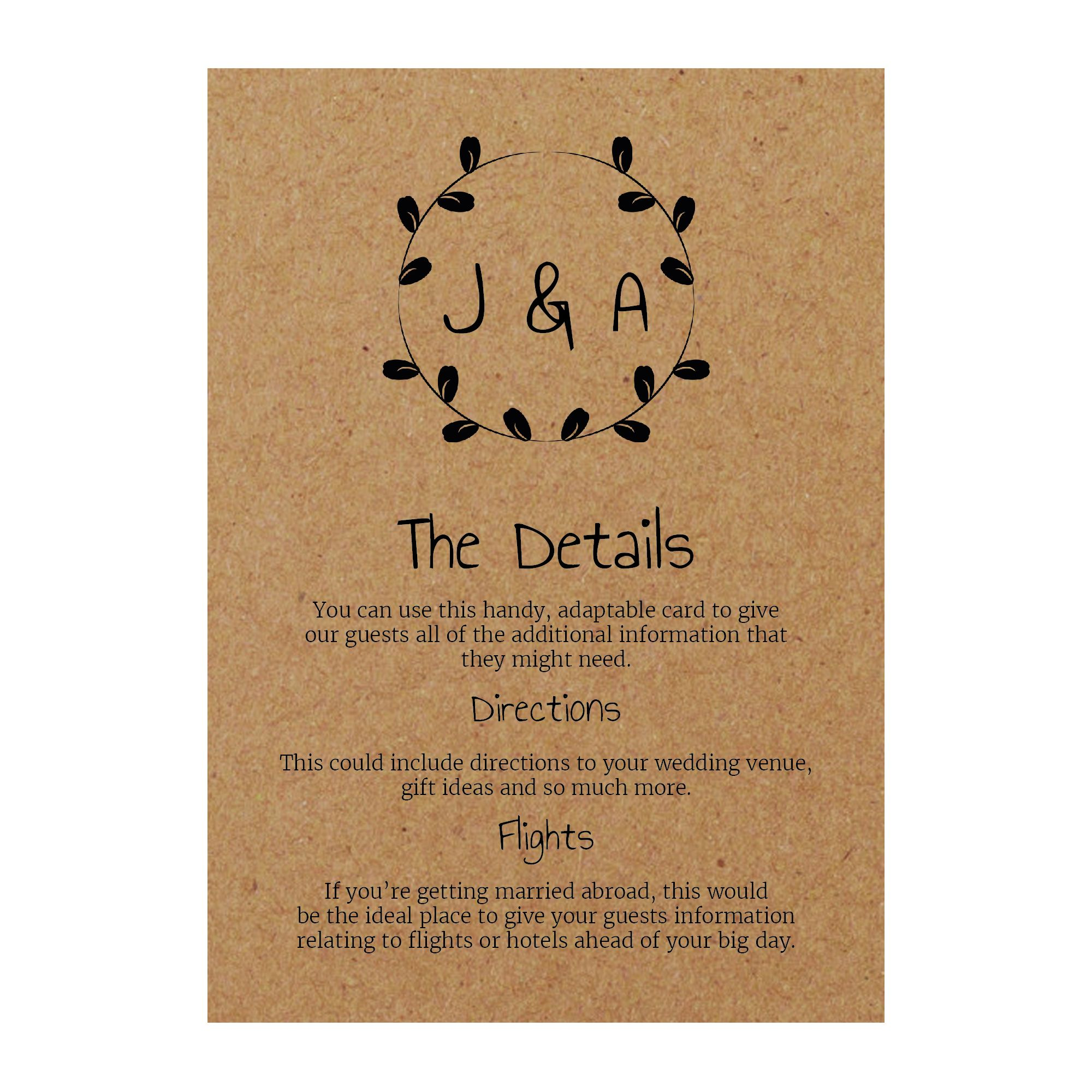 Recycled Brown Kraft Minimalist Floral Guest Information Cards