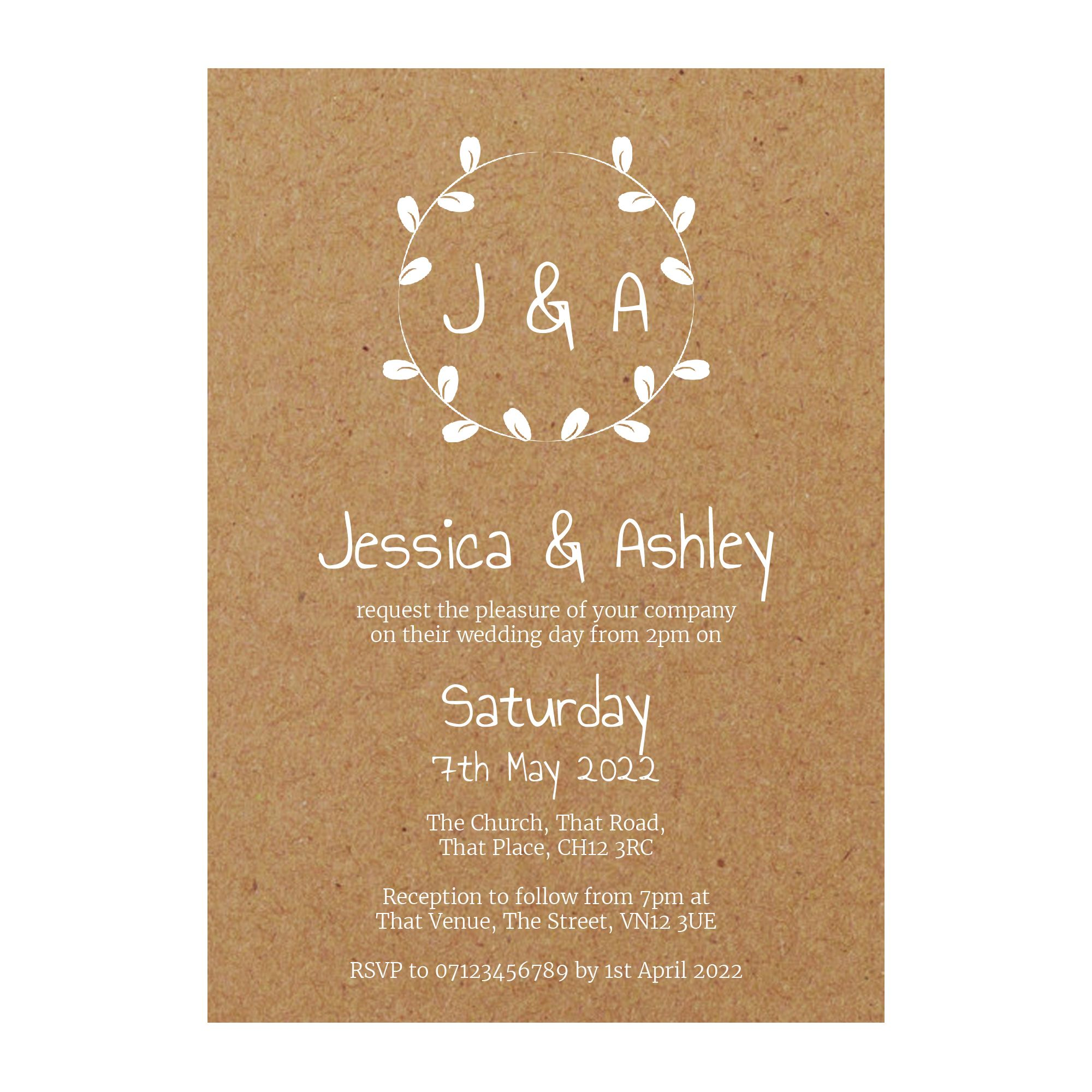 Recycled Brown Kraft with White Ink Minimalist Floral Wedding Invitations