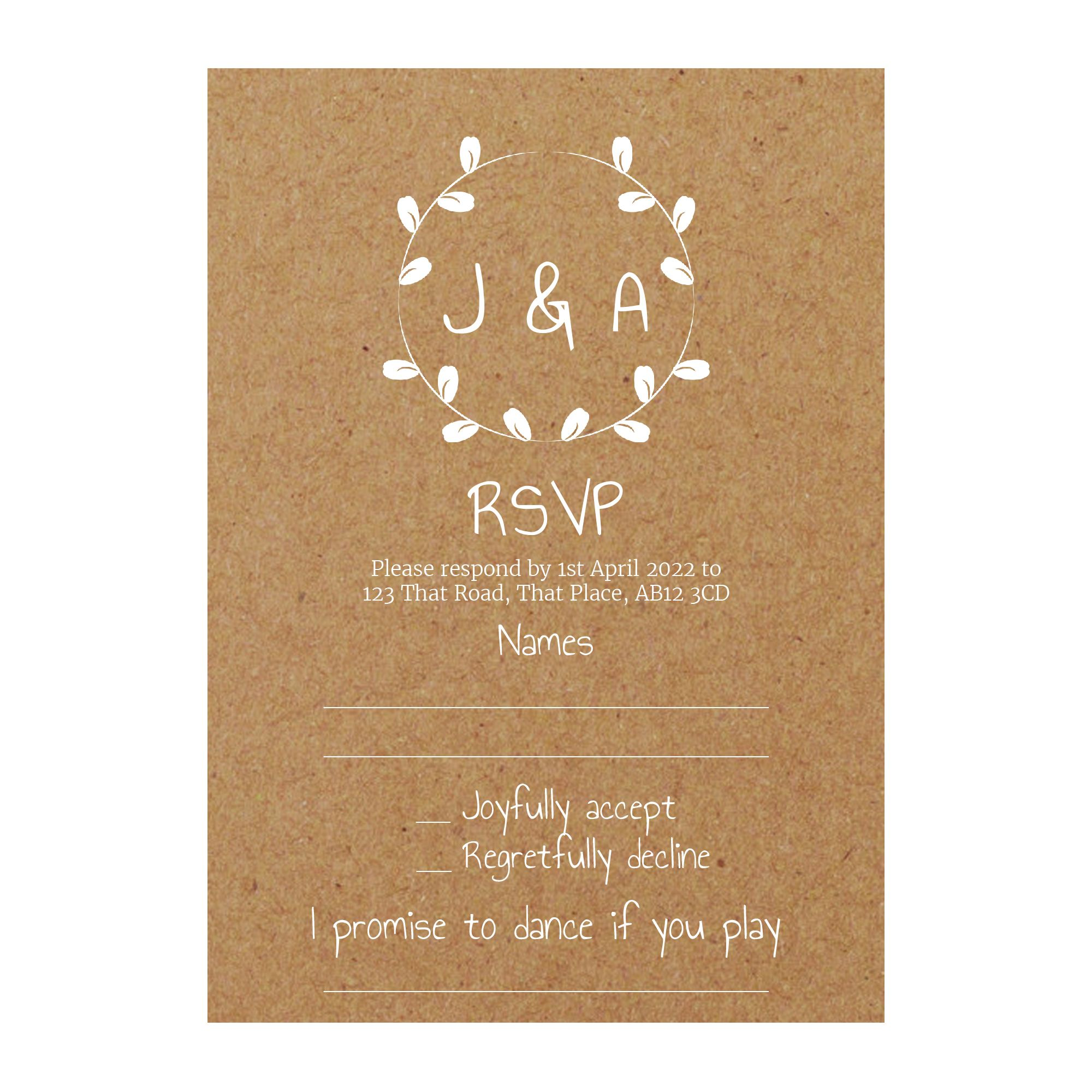 Recycled Brown Kraft with White Ink Minimalist Floral RSVP Song Request Cards
