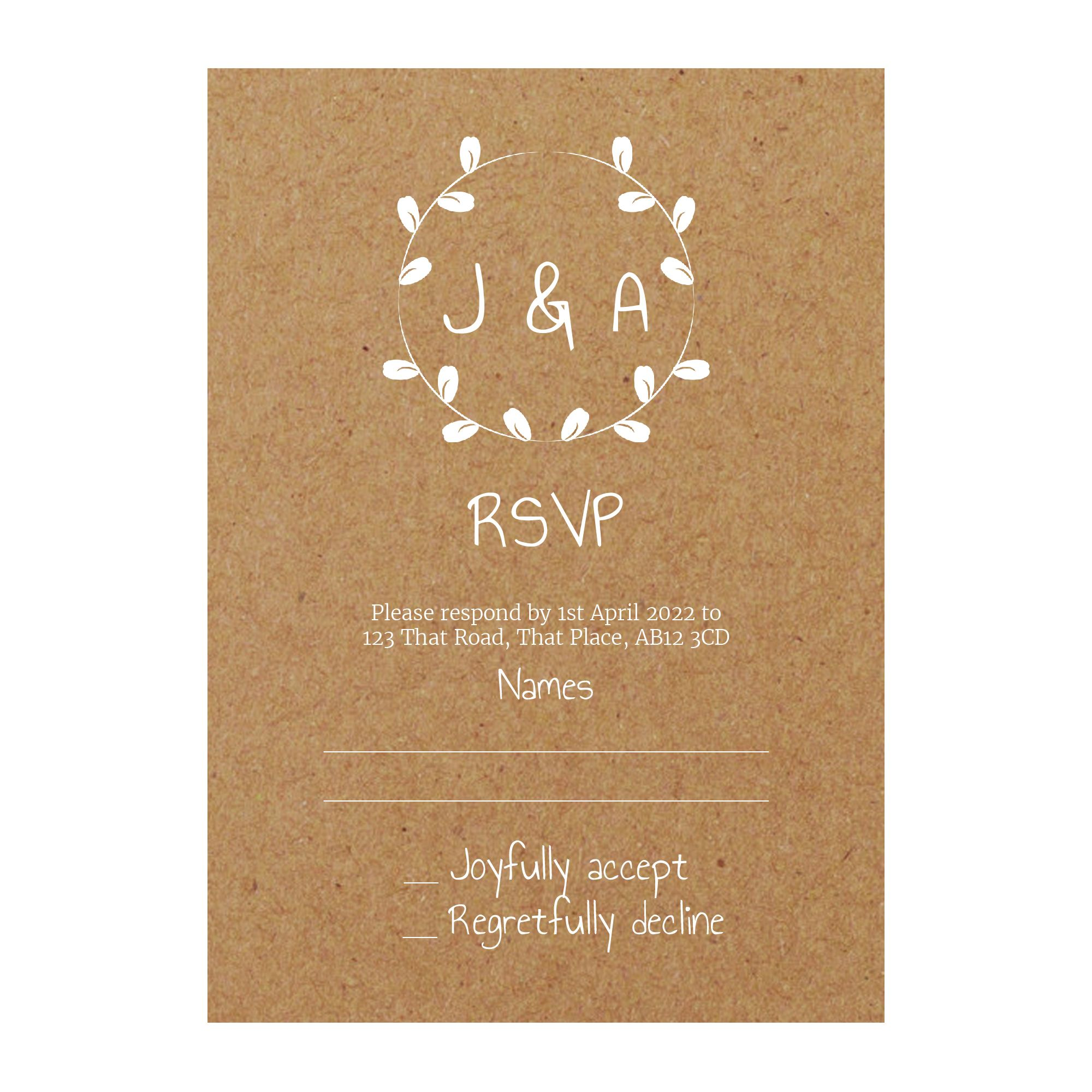 Recycled Brown Kraft with White Ink Minimalist Floral RSVP Cards