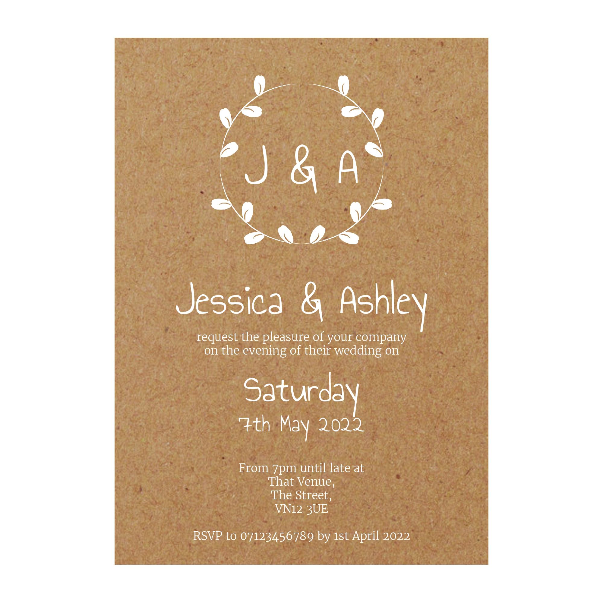 Recycled Brown Kraft with White Ink Minimalist Floral Reception Invitations