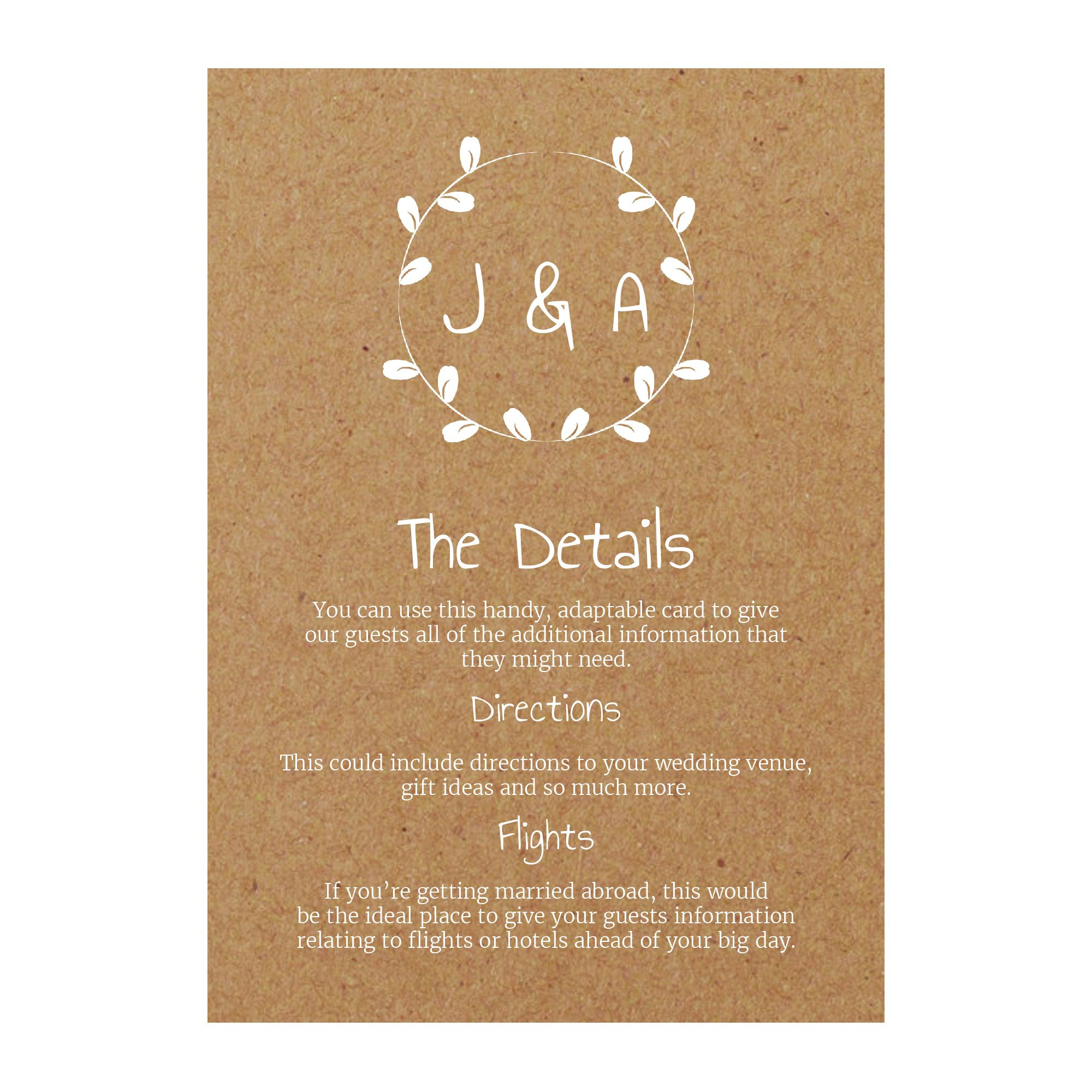 Recycled Brown Kraft with White Ink Minimalist Floral Guest Information Cards