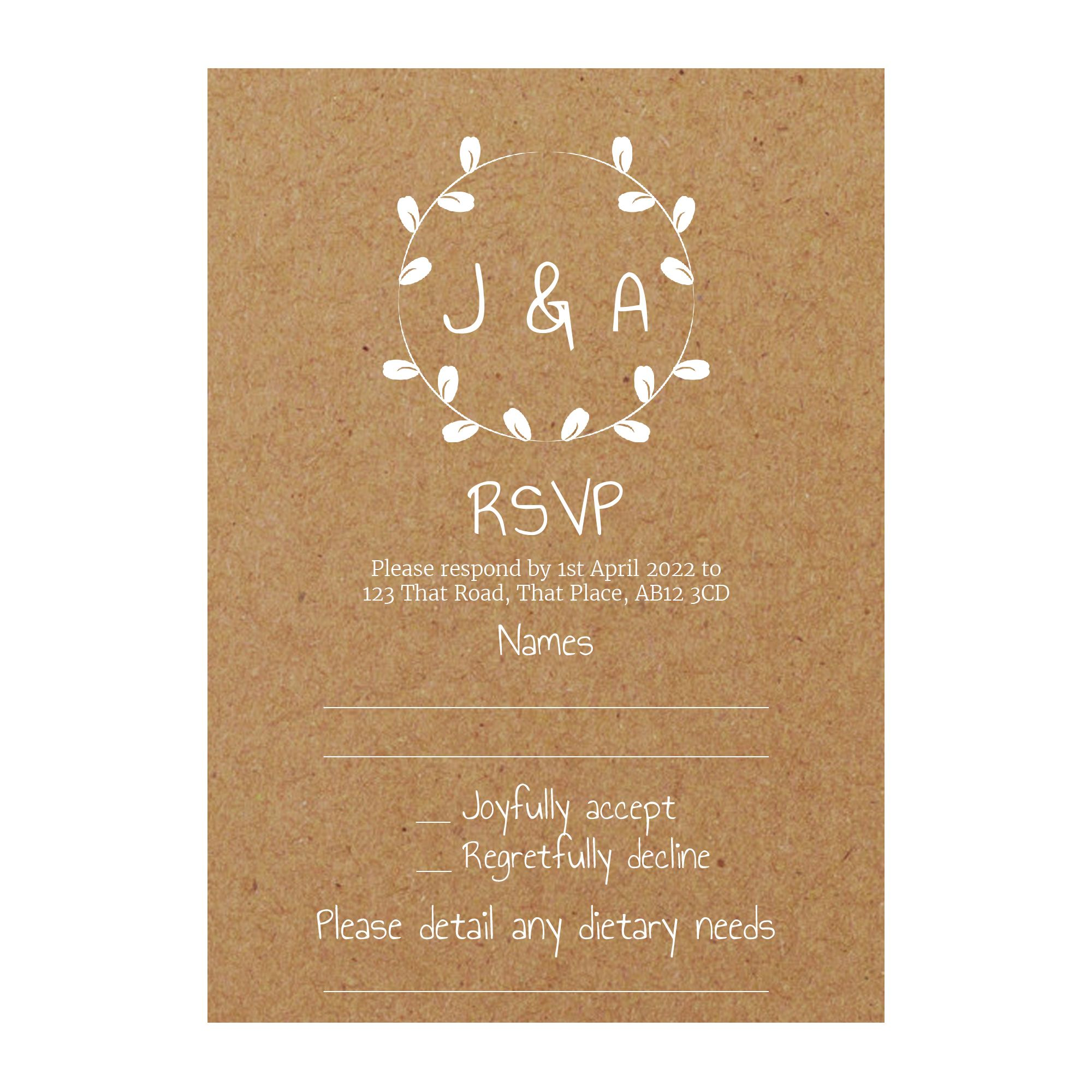 Recycled Brown Kraft with White Ink Minimalist Floral RSVP Dietary Requirement Cards