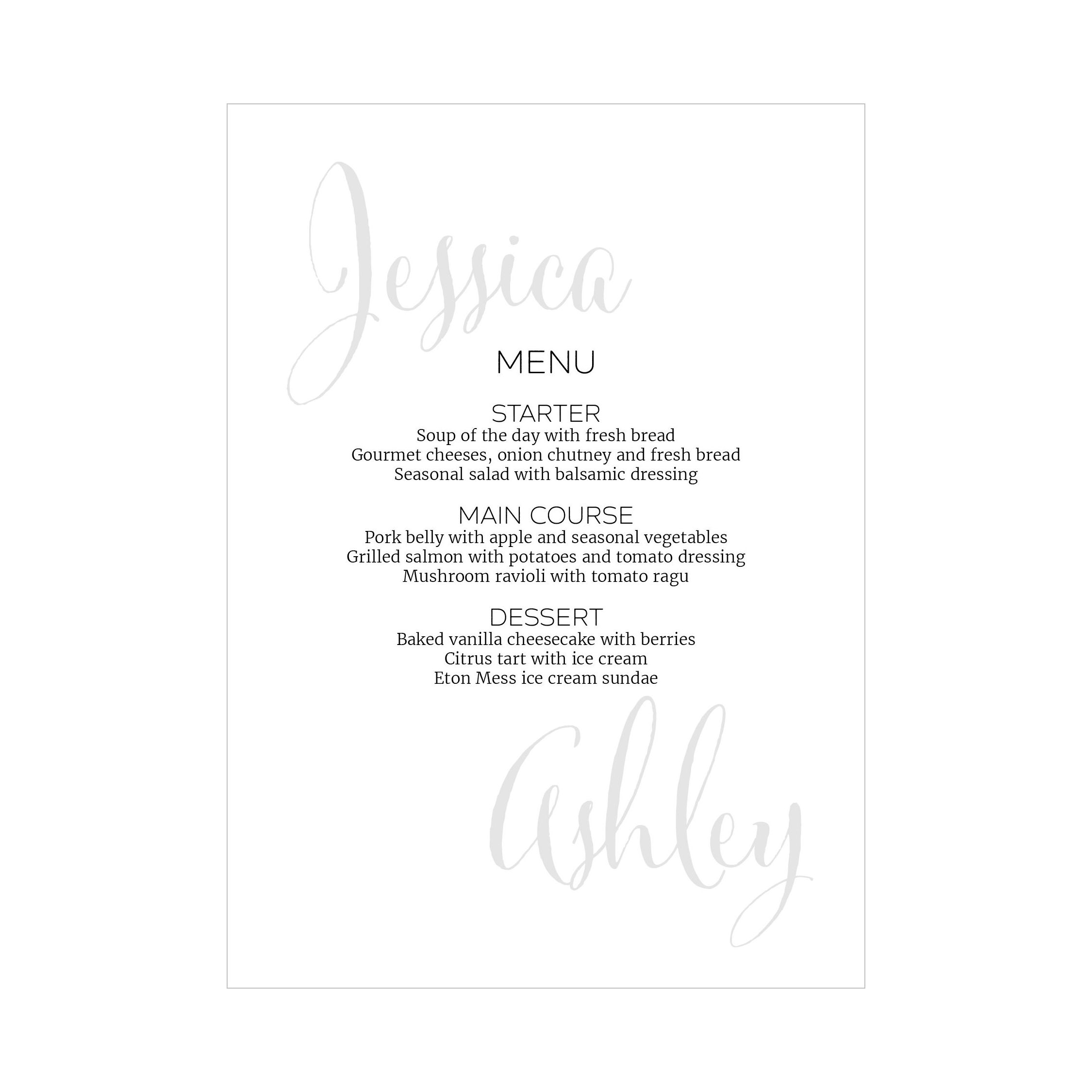 Recycled White Name Swirl Grey Traditional Menu Cards