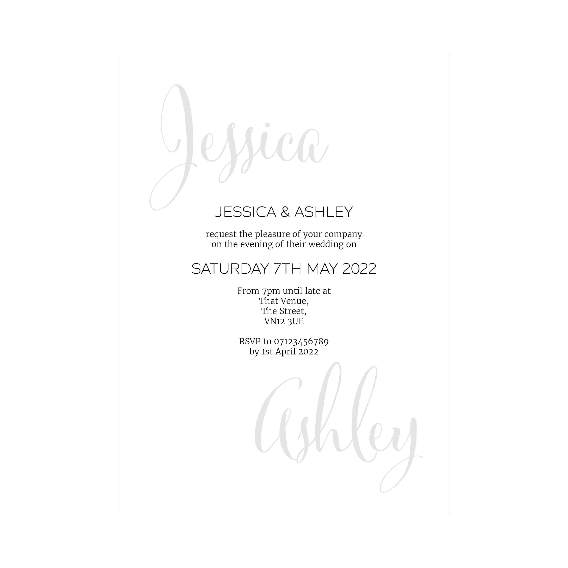 Recycled White Name Swirl Grey Traditional Reception Invitations