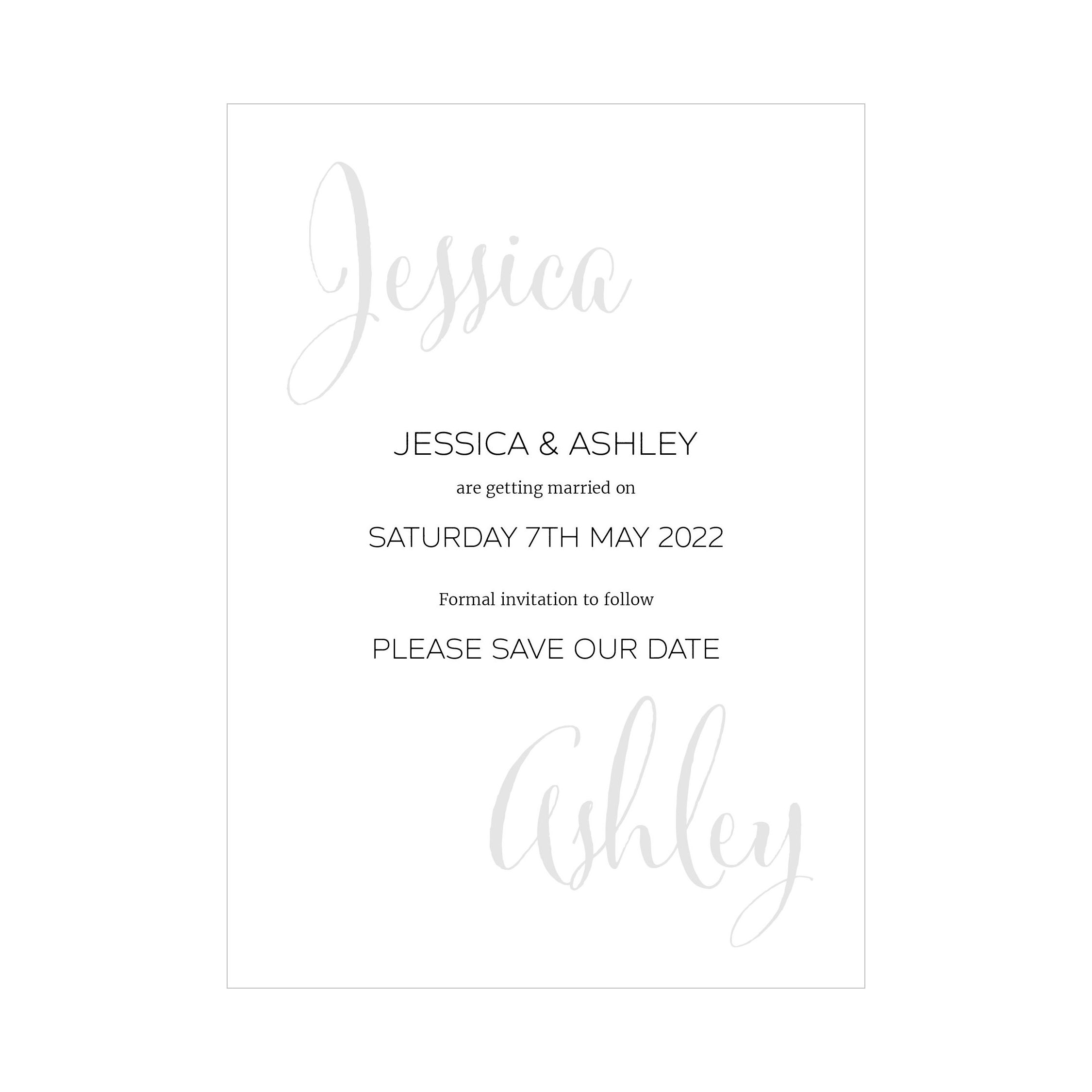 Recycled White Name Swirl Grey Traditional Save the Date Cards