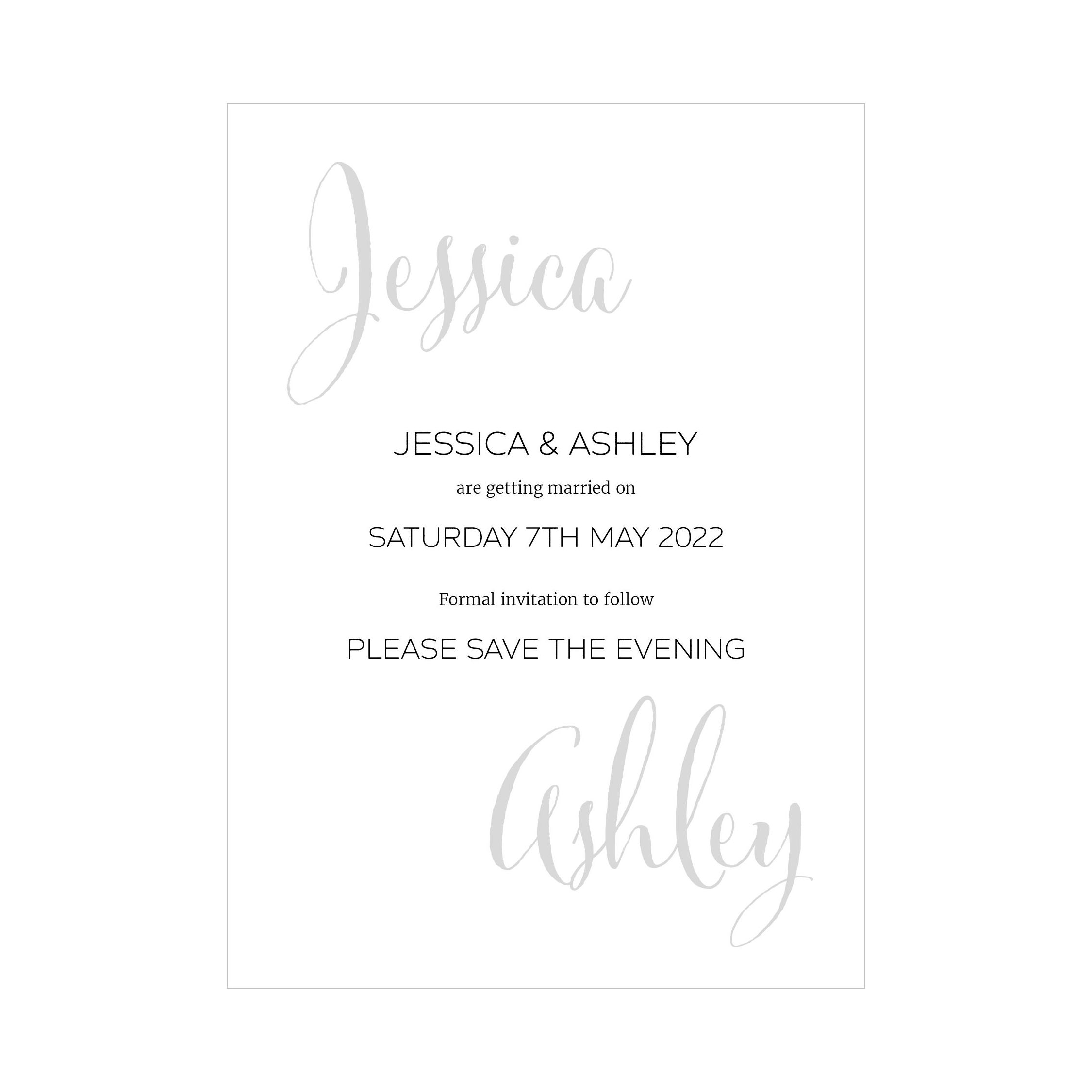 Recycled White Name Swirl Grey Traditional Save the Evening Cards
