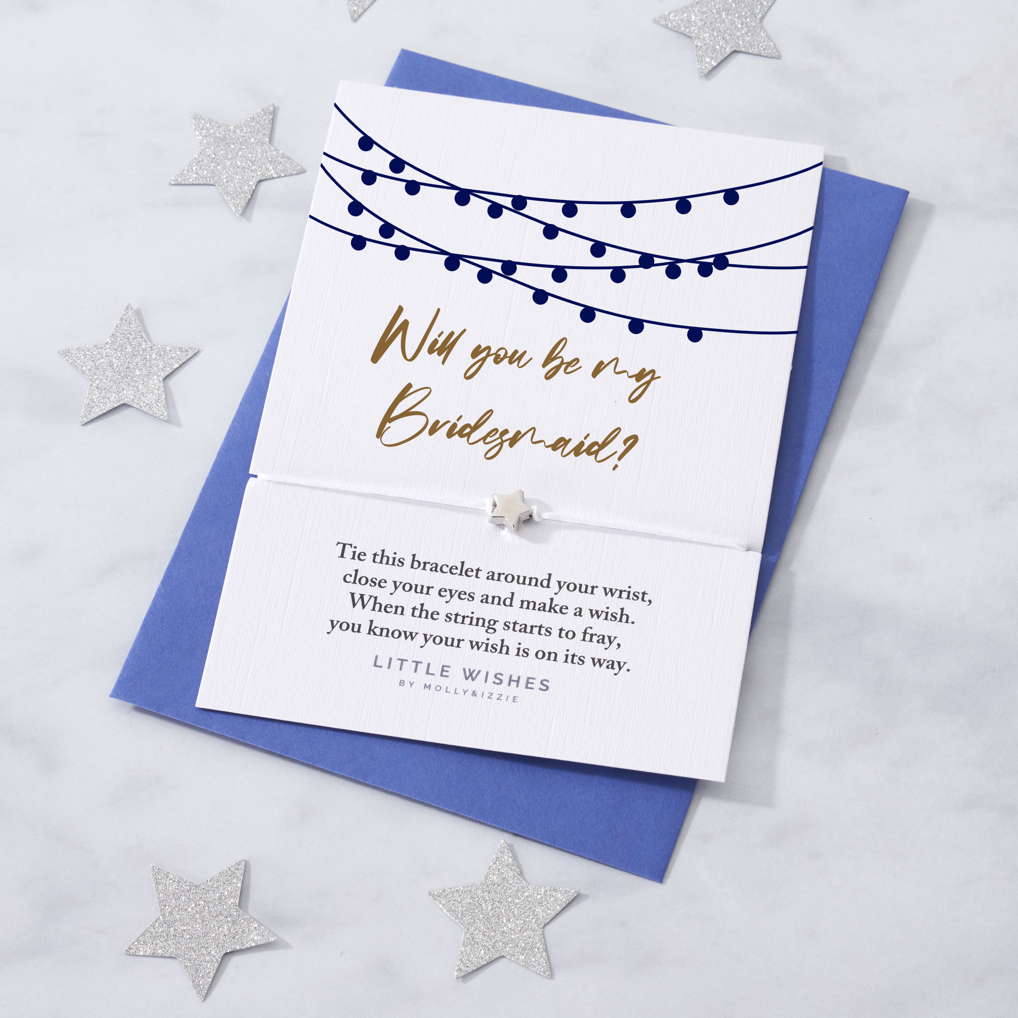 by Molly & Izzie Will You Be My Bridesmaid Star Wish Bracelet