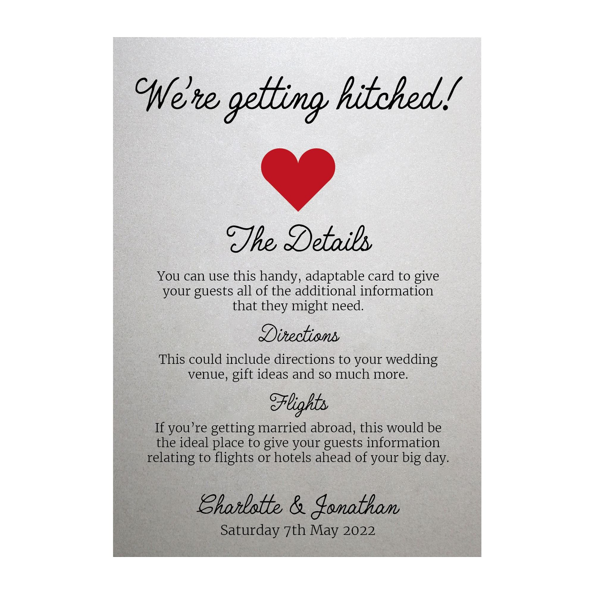 Shimmer Arctic White We're Getting Hitched Guest Information Cards