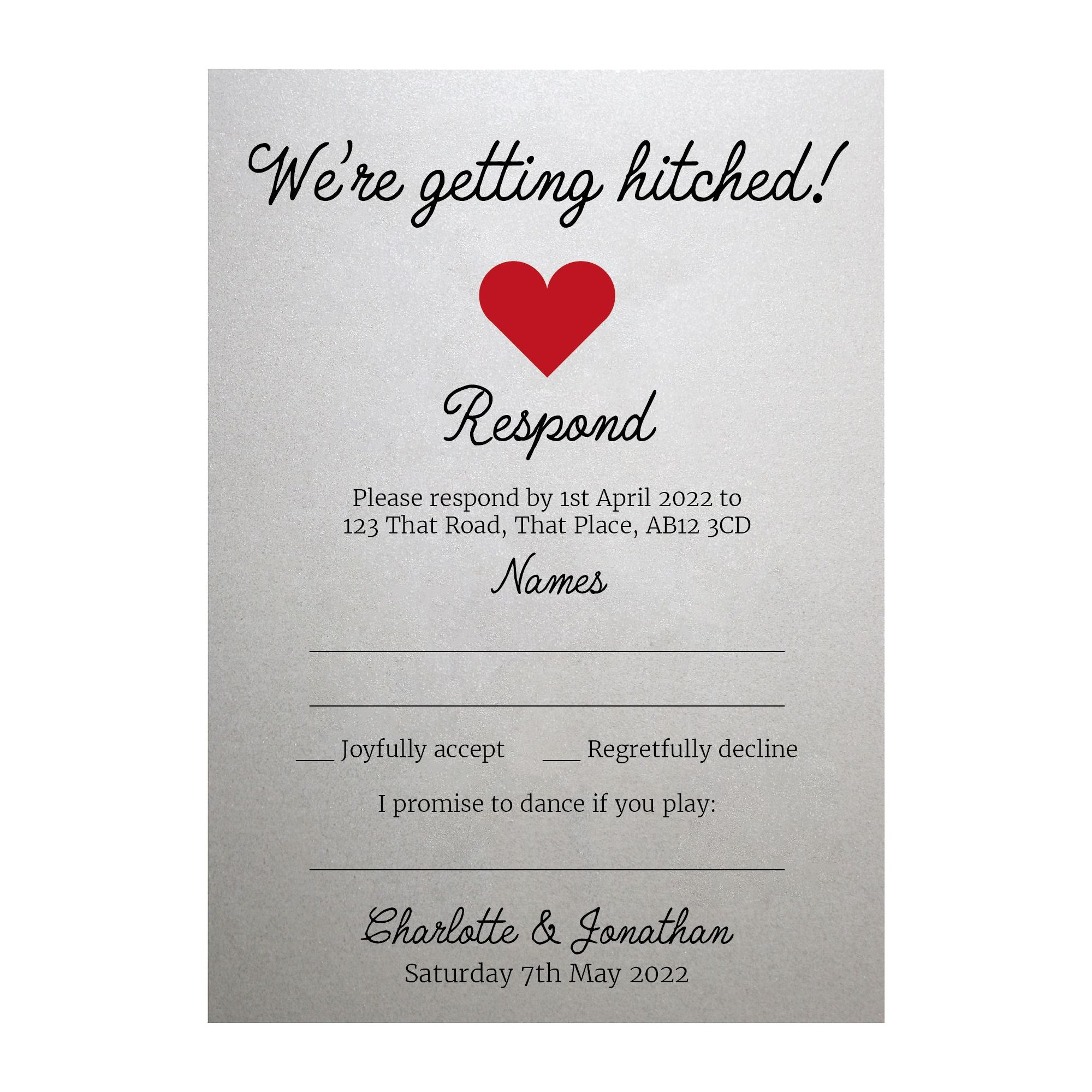 Shimmer Arctic White We're Getting Hitched RSVP Song Request Cards