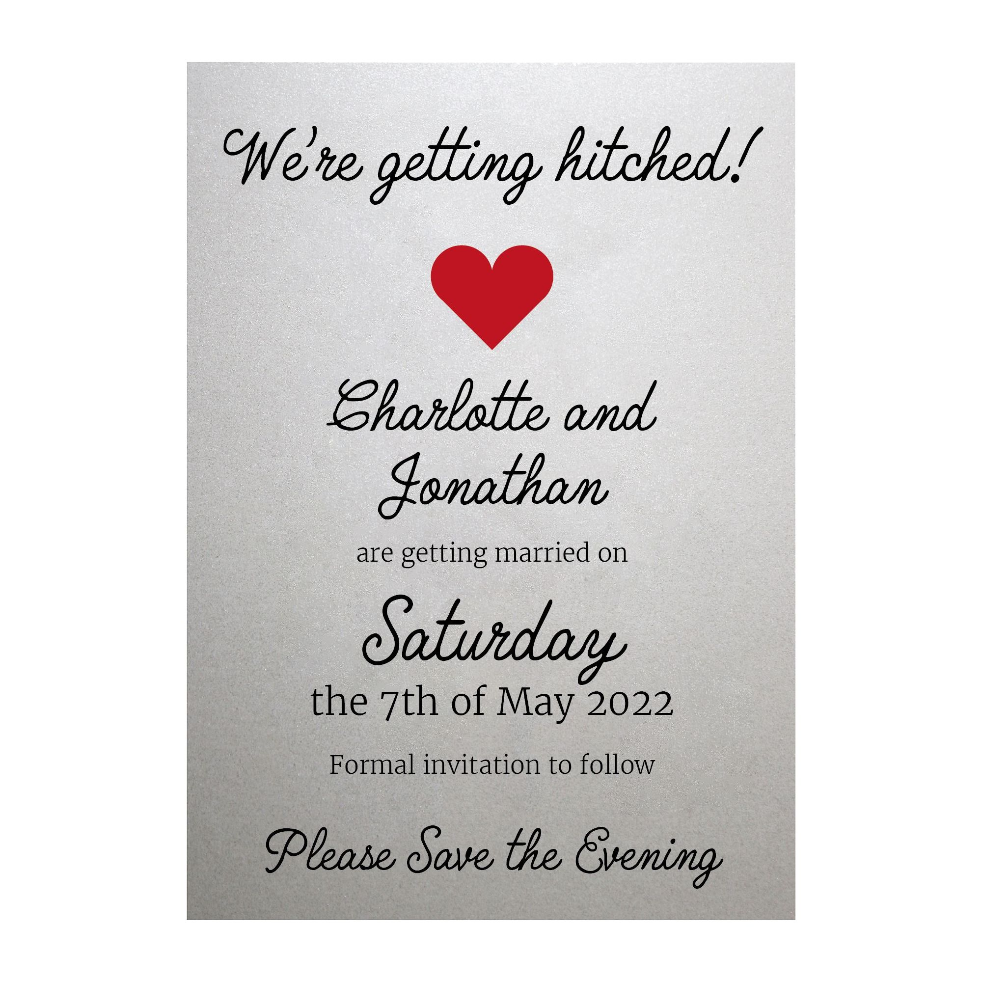 Shimmer Arctic White We're Getting Hitched Save the Evening Cards