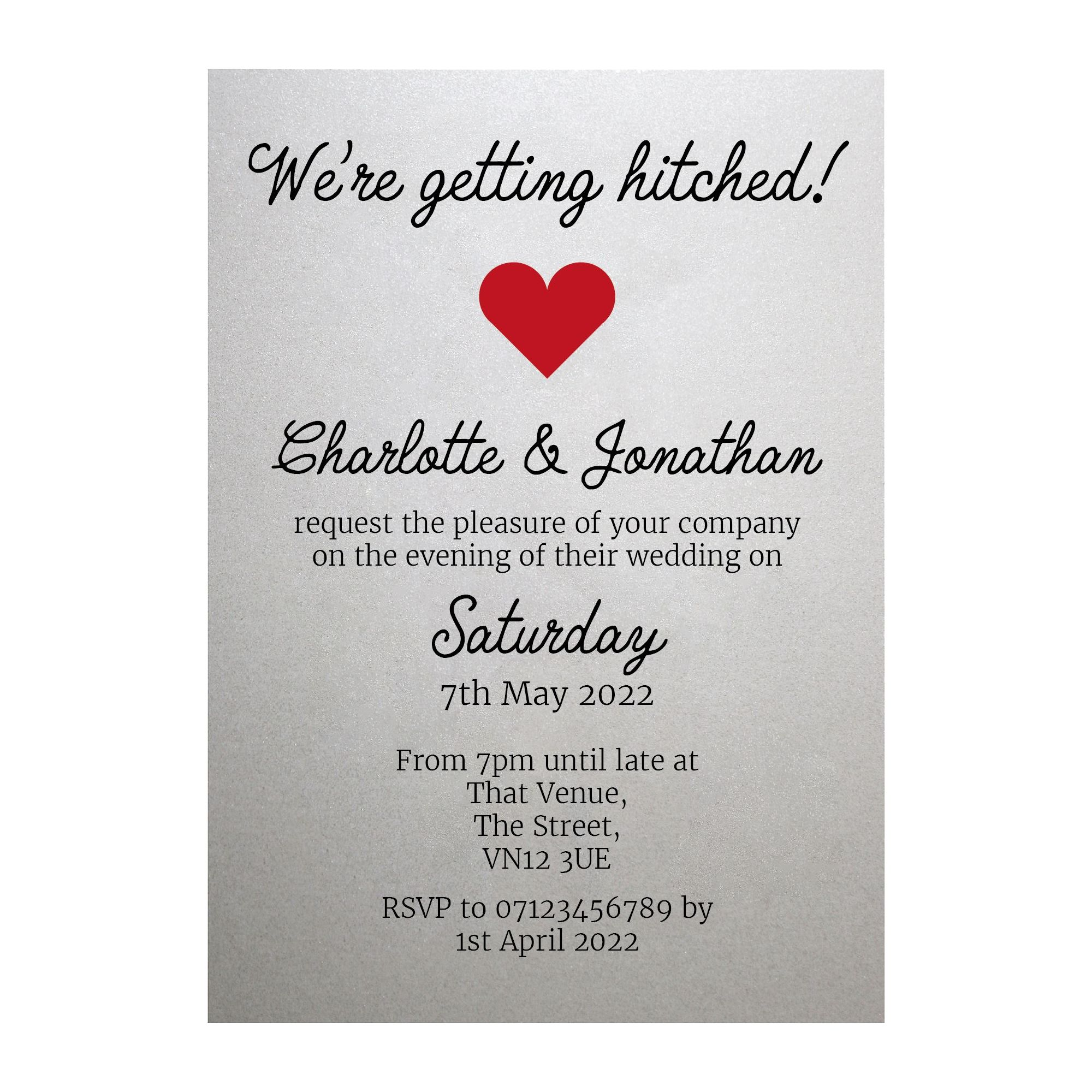 Shimmer Arctic White We're Getting Hitched Reception Invitations