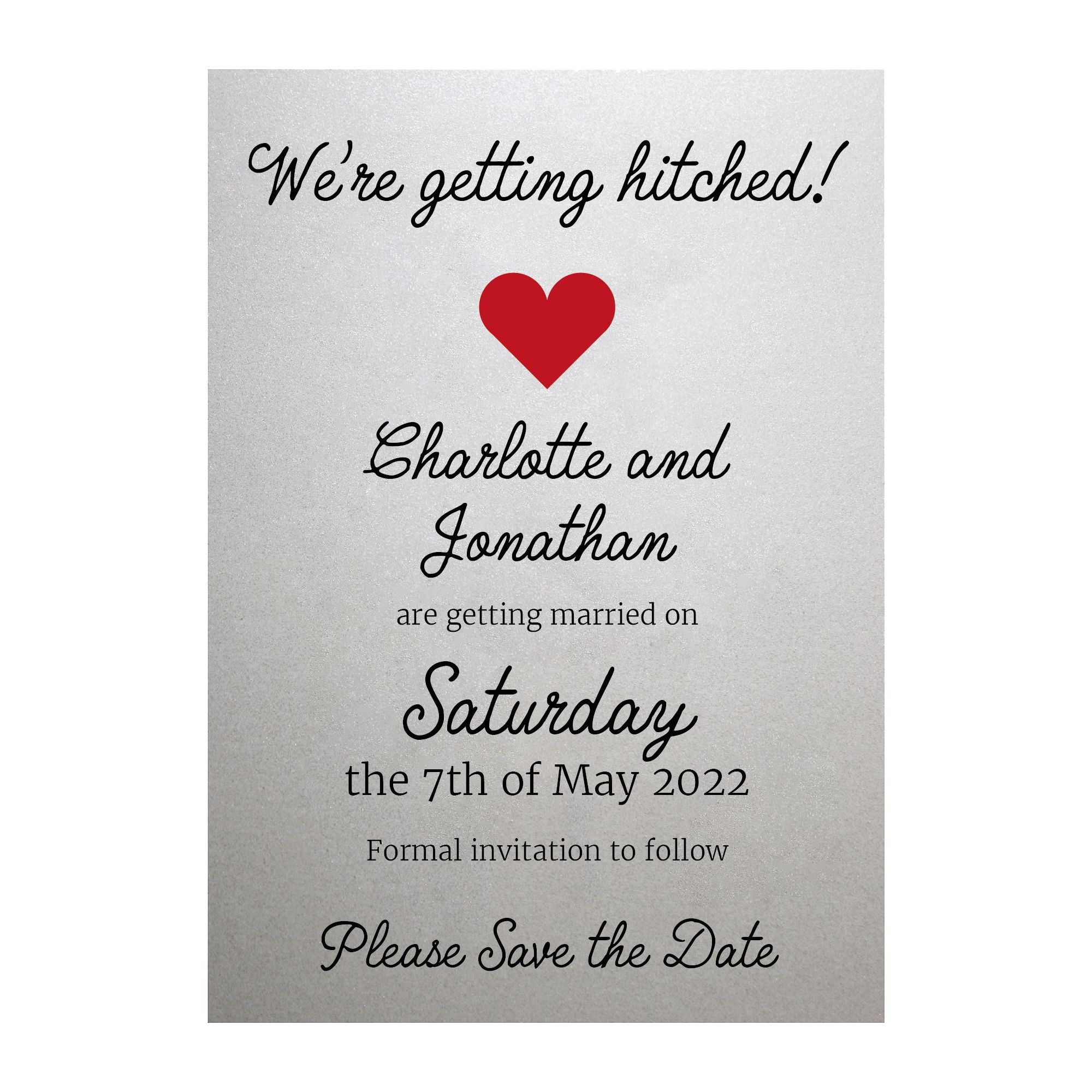 Shimmer Arctic White We're Getting Hitched Save the Date Cards