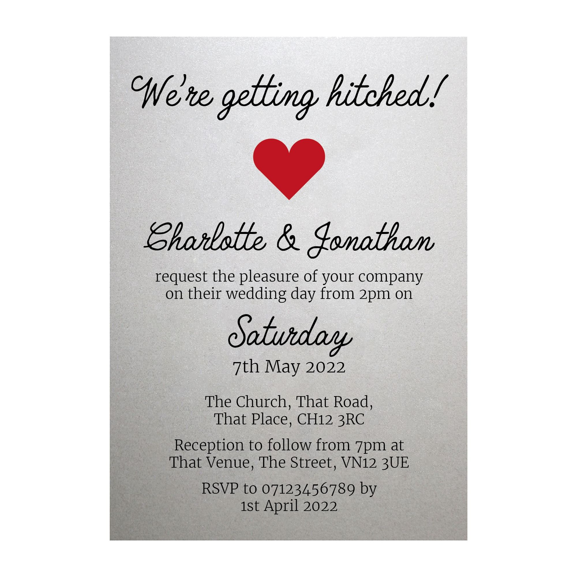 Shimmer Arctic White We're Getting Hitched Wedding Invitations
