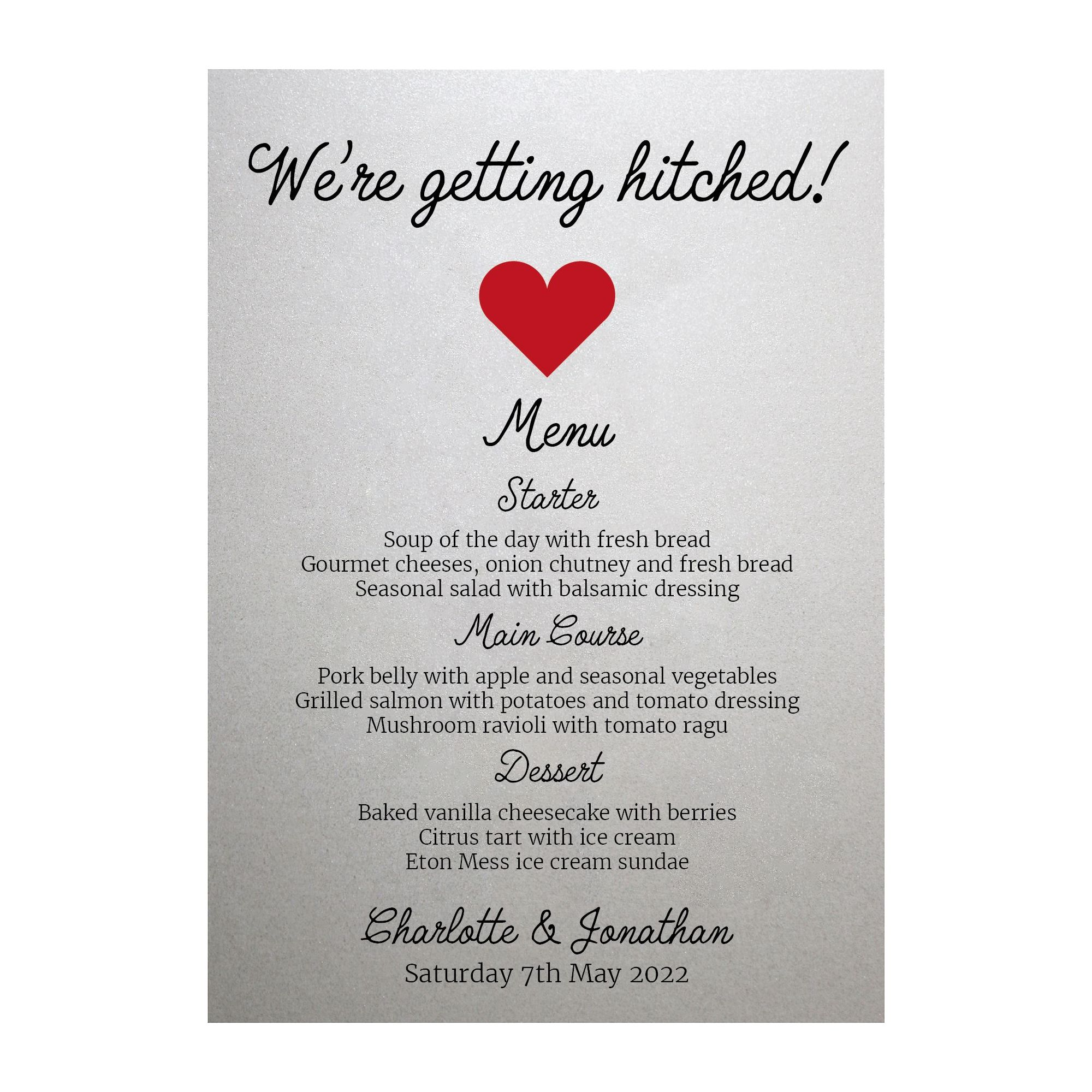 Shimmer Arctic White We're Getting Hitched Menu Cards