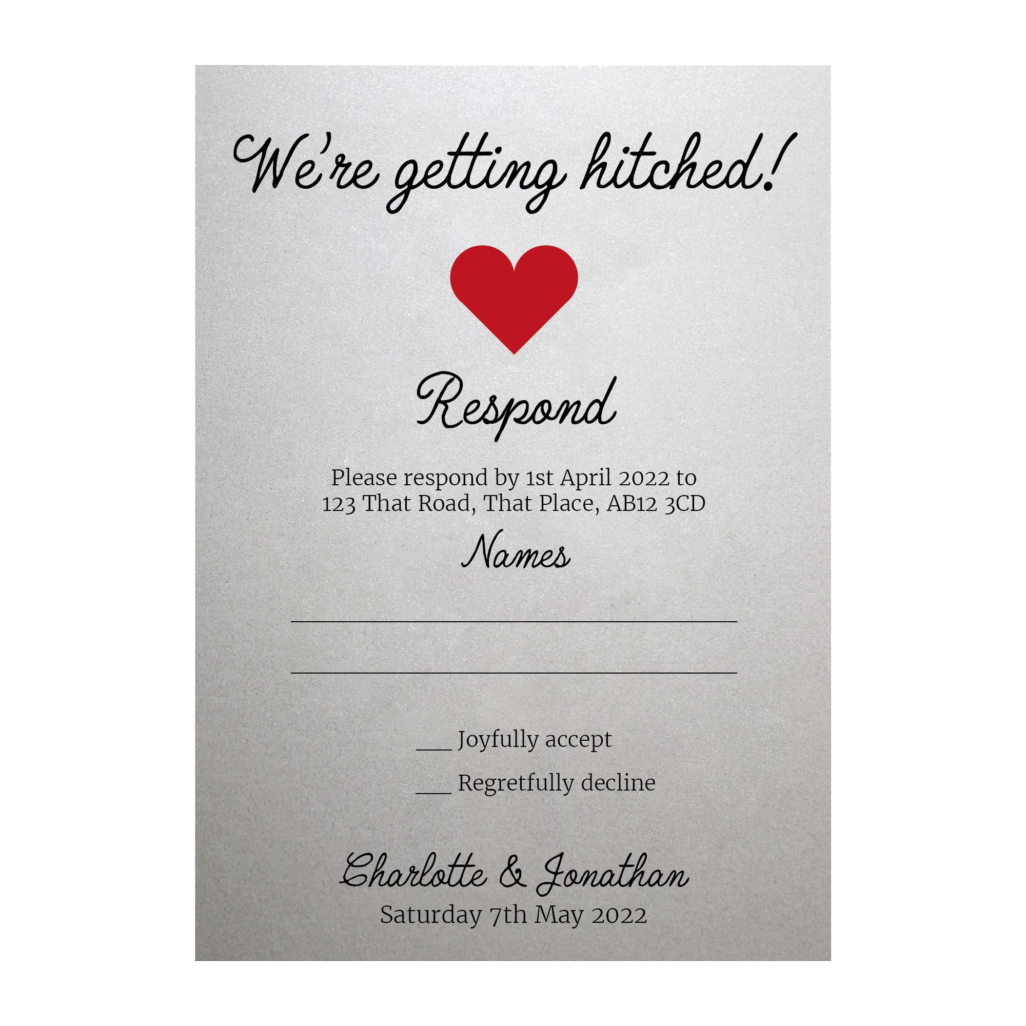 Shimmer Arctic White We're Getting Hitched RSVP Cards