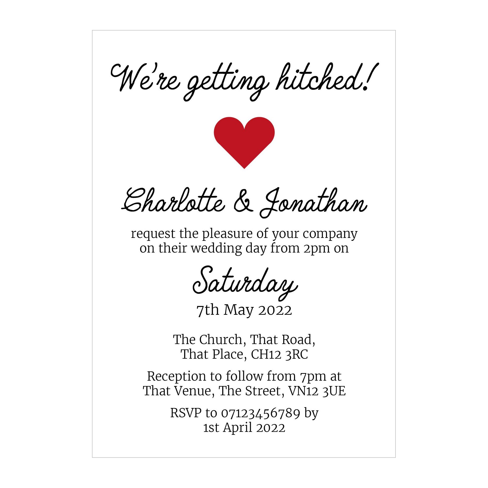 Recycled White We're Getting Hitched Wedding Invitations
