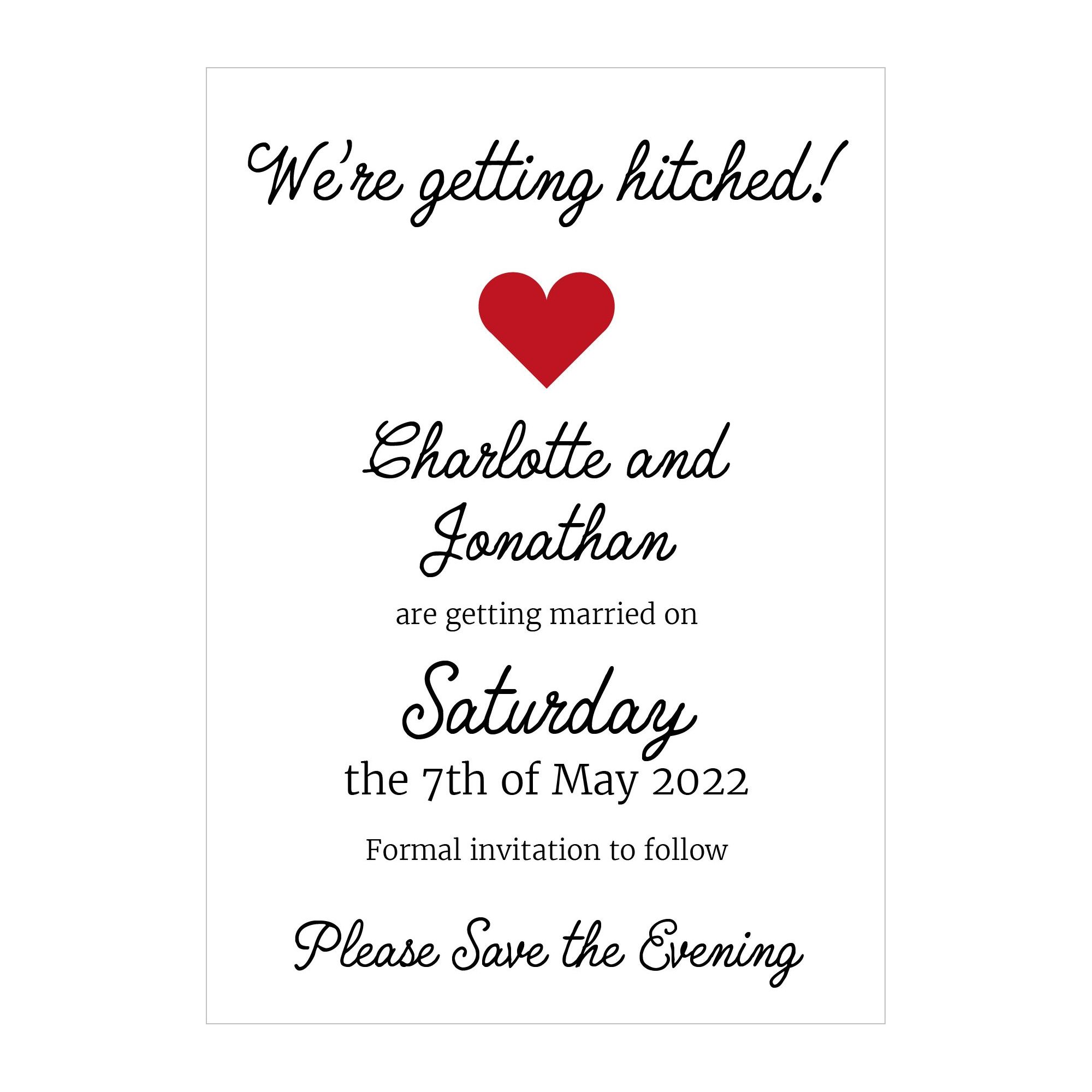 Recycled White We're Getting Hitched Save the Evening Cards