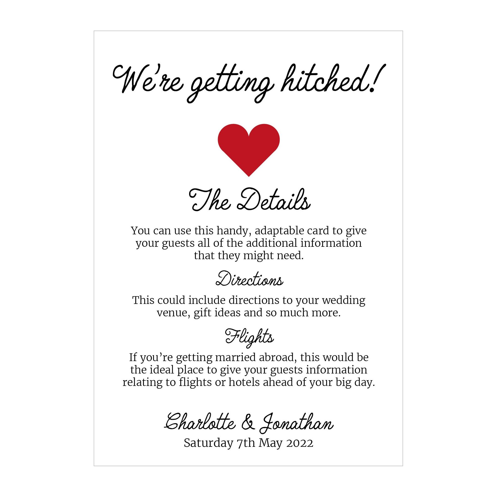 Recycled White We're Getting Hitched Guest Information Cards