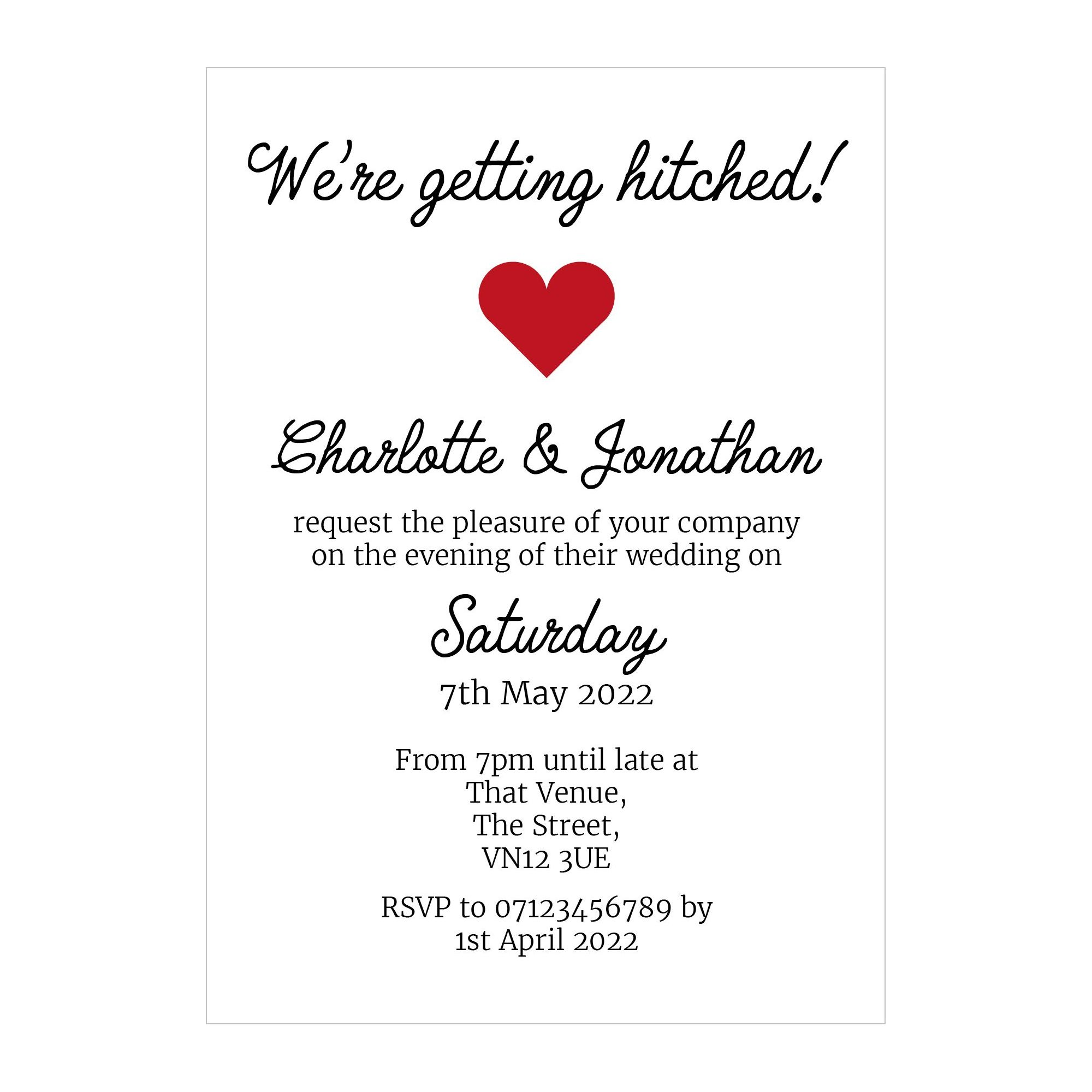 Recycled White We're Getting Hitched Reception Invitations