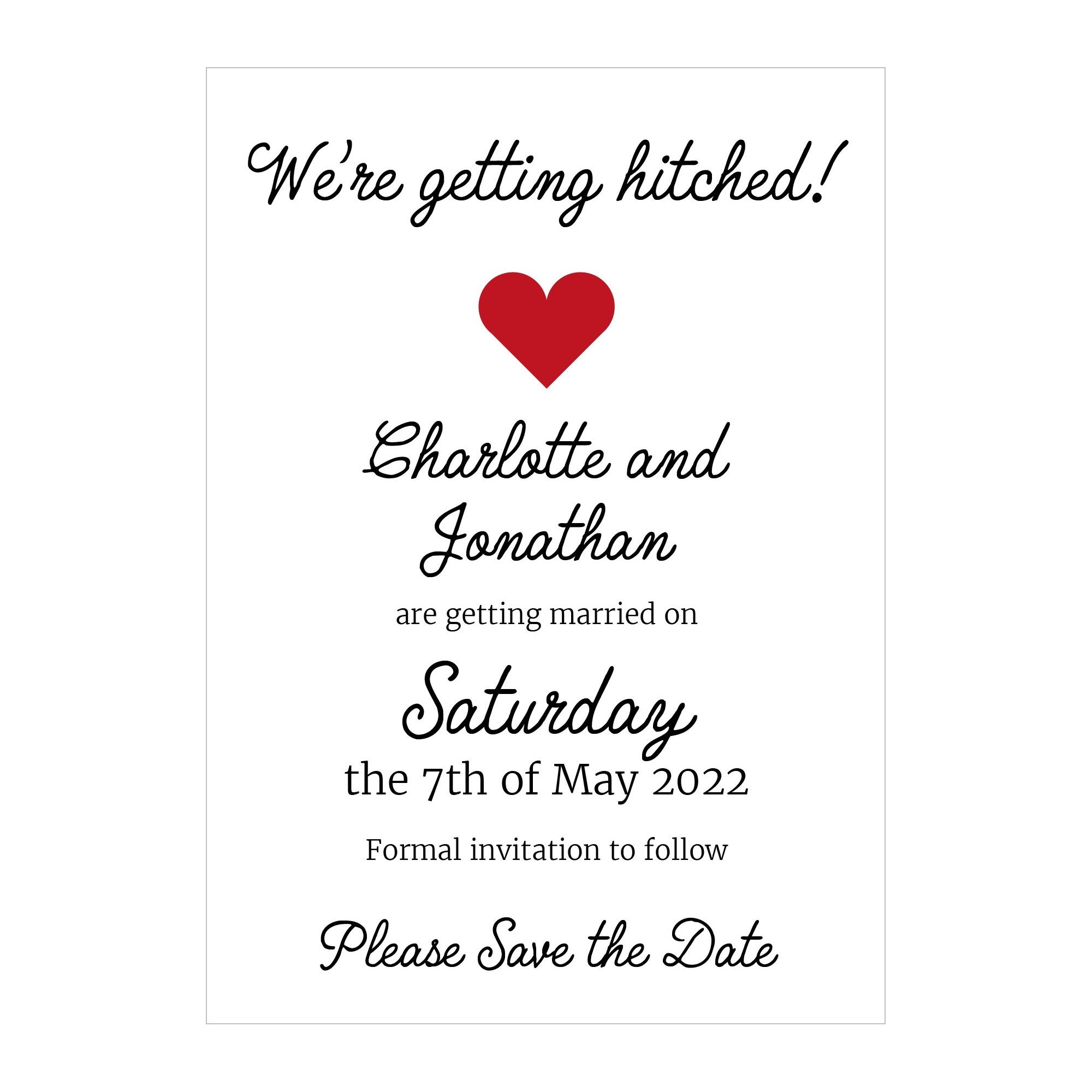 Recycled White We're Getting Hitched Save the Date Cards