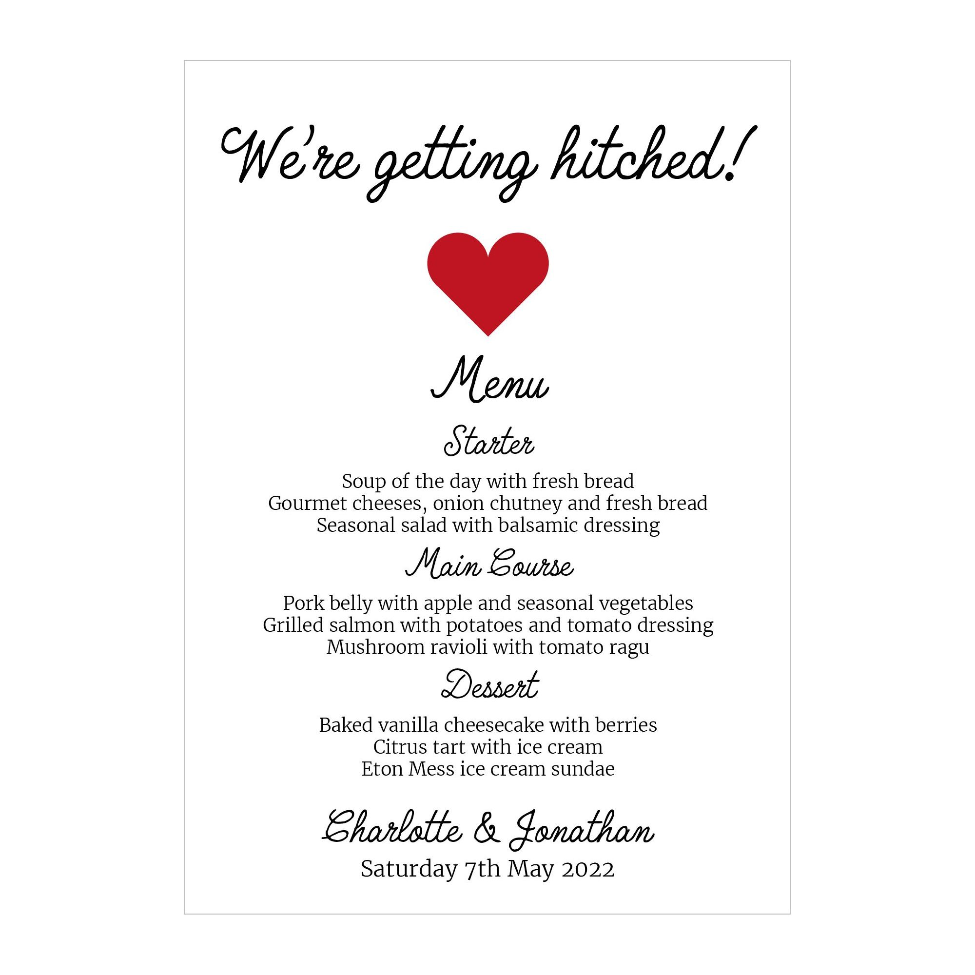 Recycled White We're Getting Hitched Menu Cards