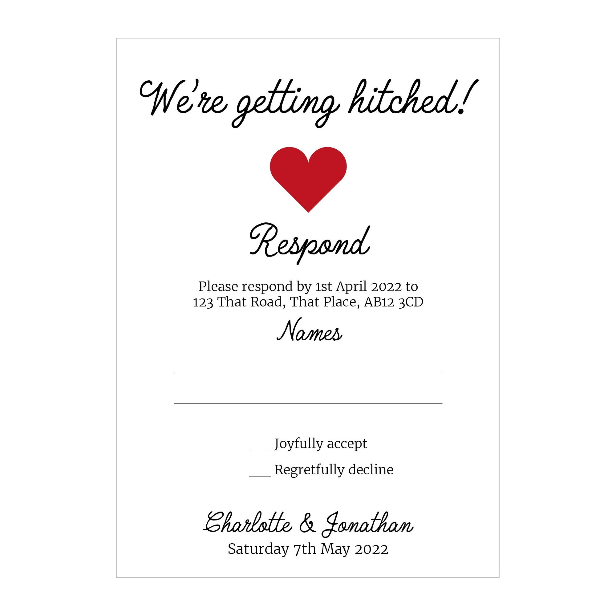 Recycled White We're Getting Hitched RSVP Cards