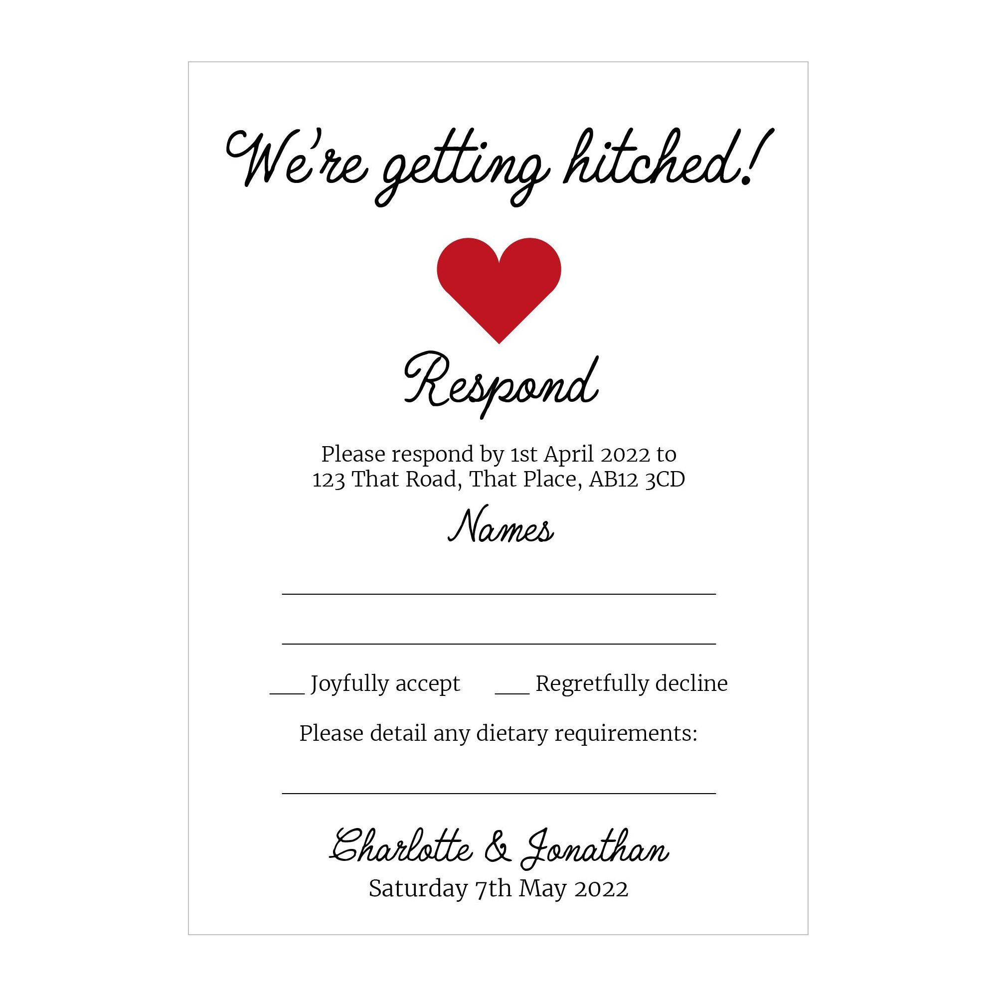 Recycled White We're Getting Hitched RSVP Dietary Requirement Cards