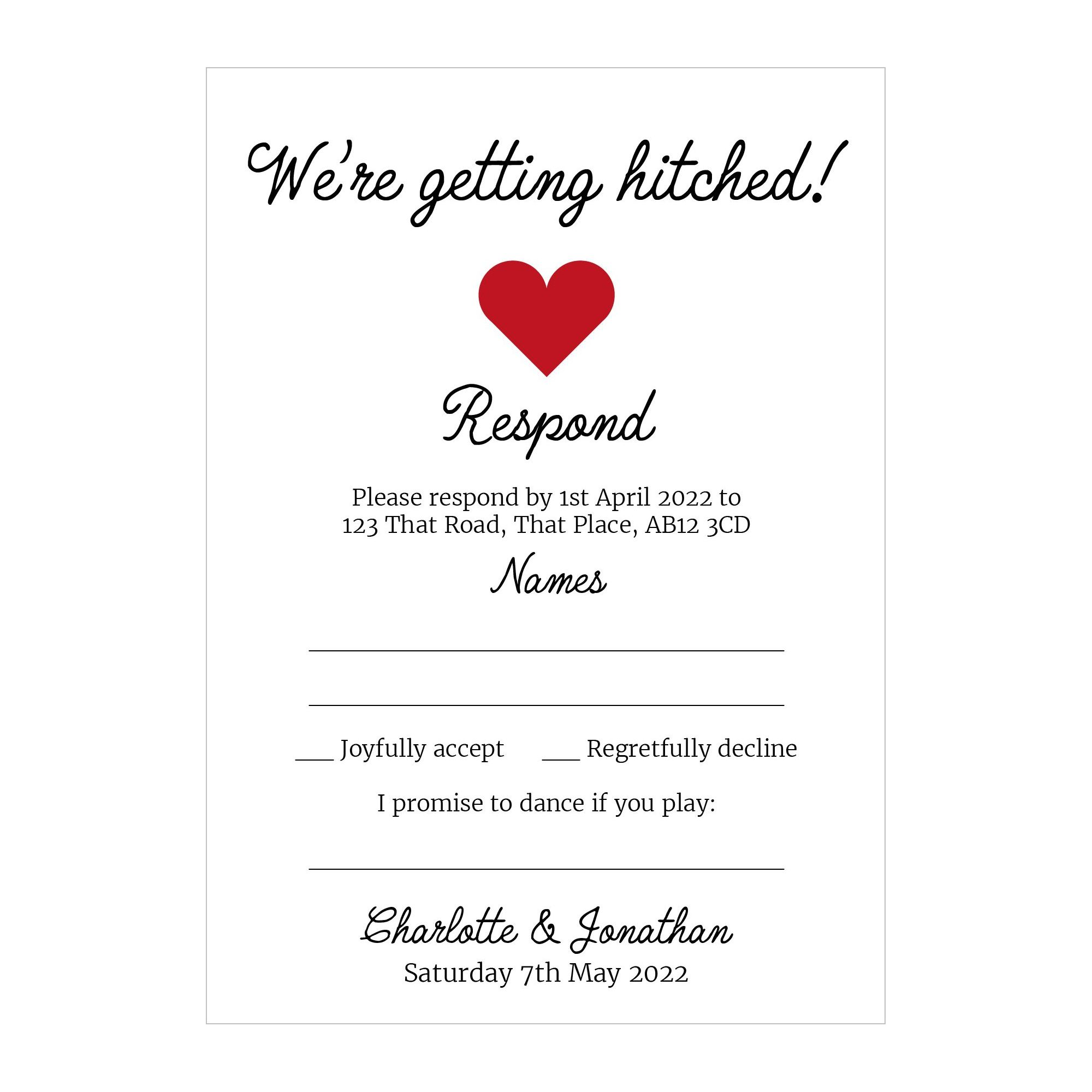Recycled White We're Getting Hitched RSVP Song Request Cards
