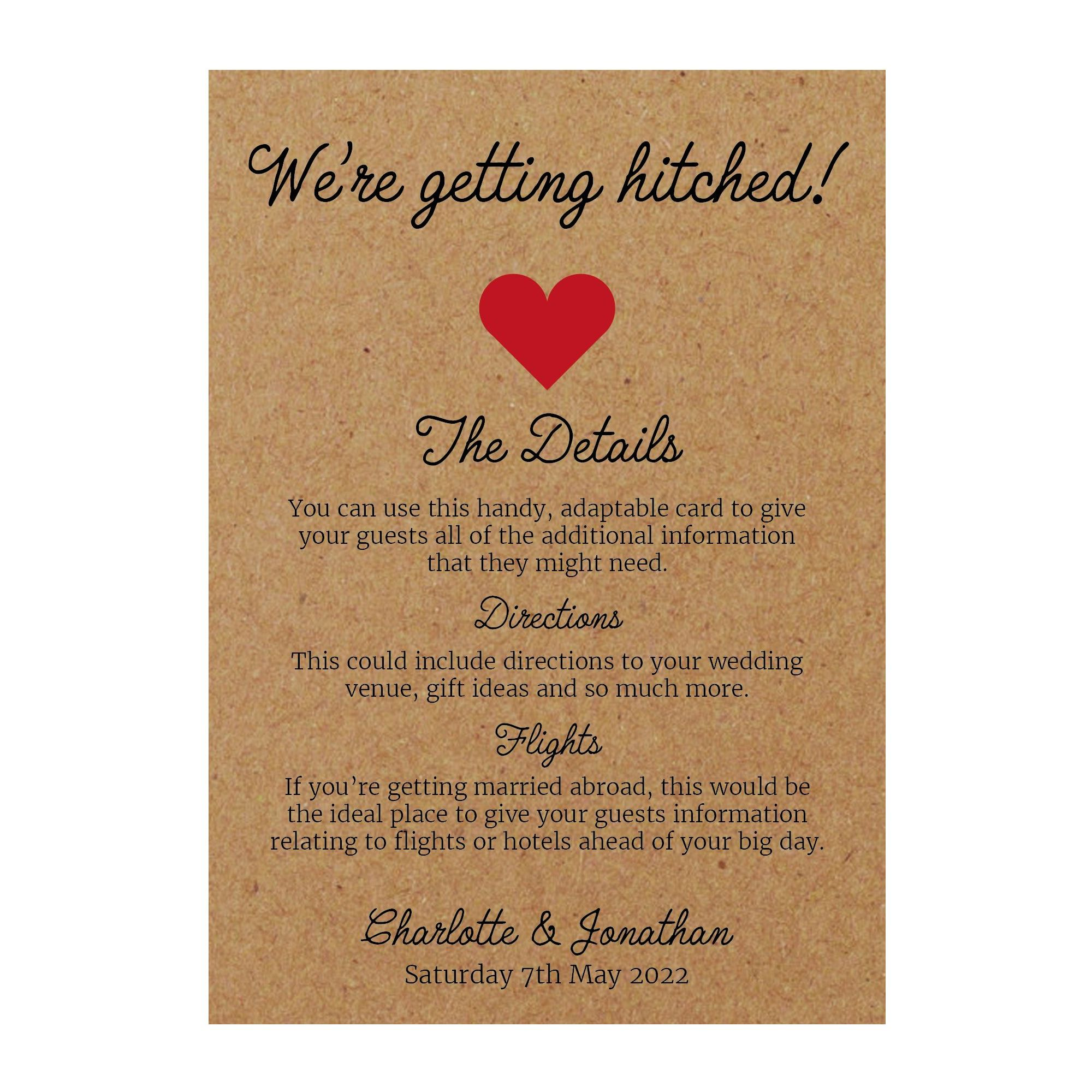 Recycled Brown Kraft We're Getting Hitched Guest Information Cards
