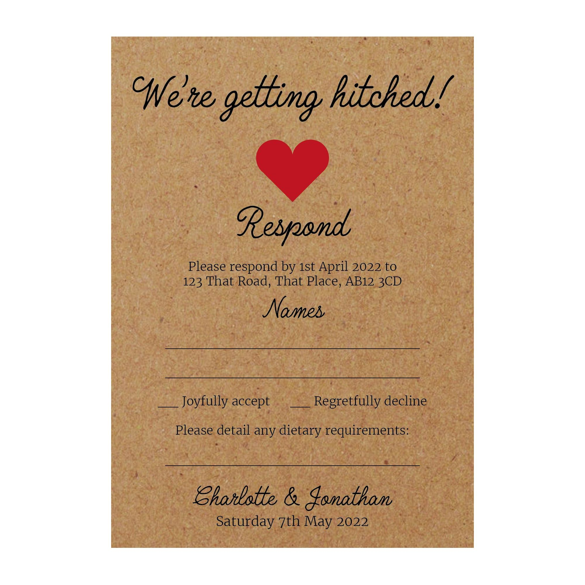 Recycled Brown Kraft We're Getting Hitched RSVP Dietary Requirement Cards