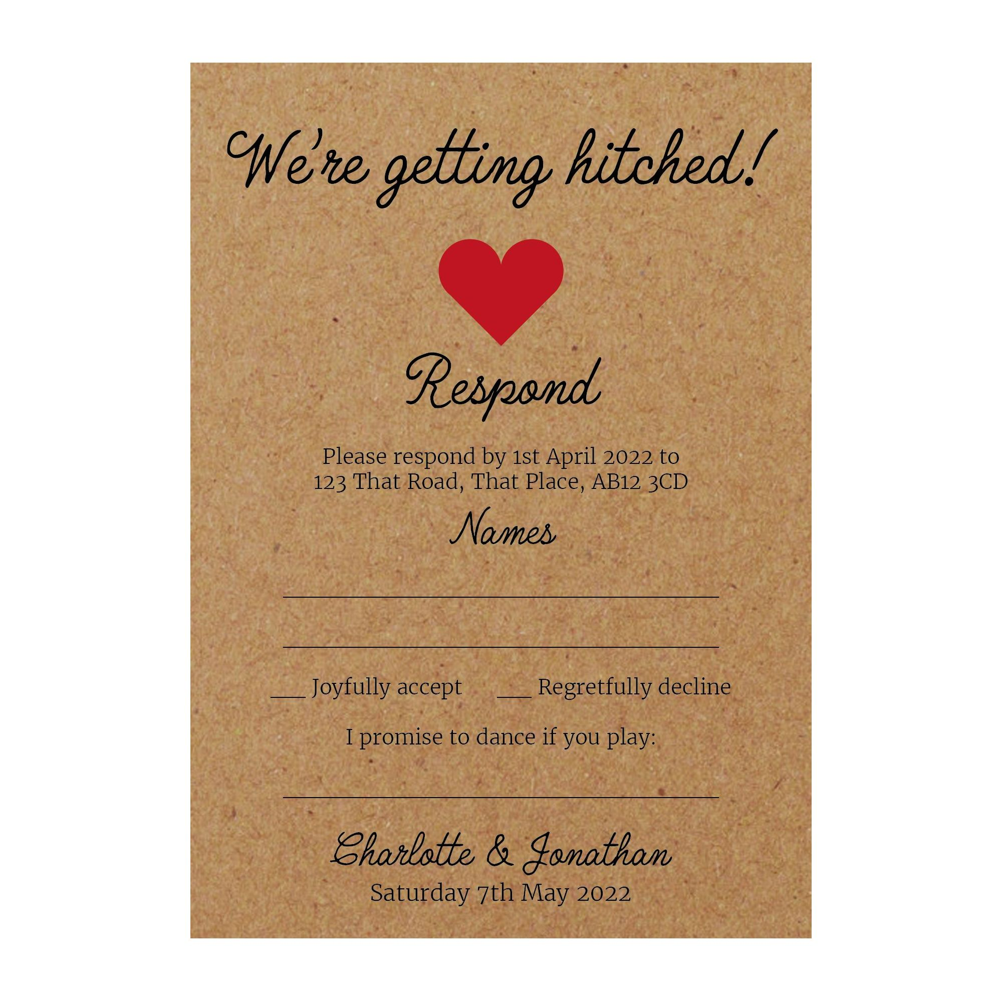 Recycled Brown Kraft We're Getting Hitched RSVP Song Request Cards