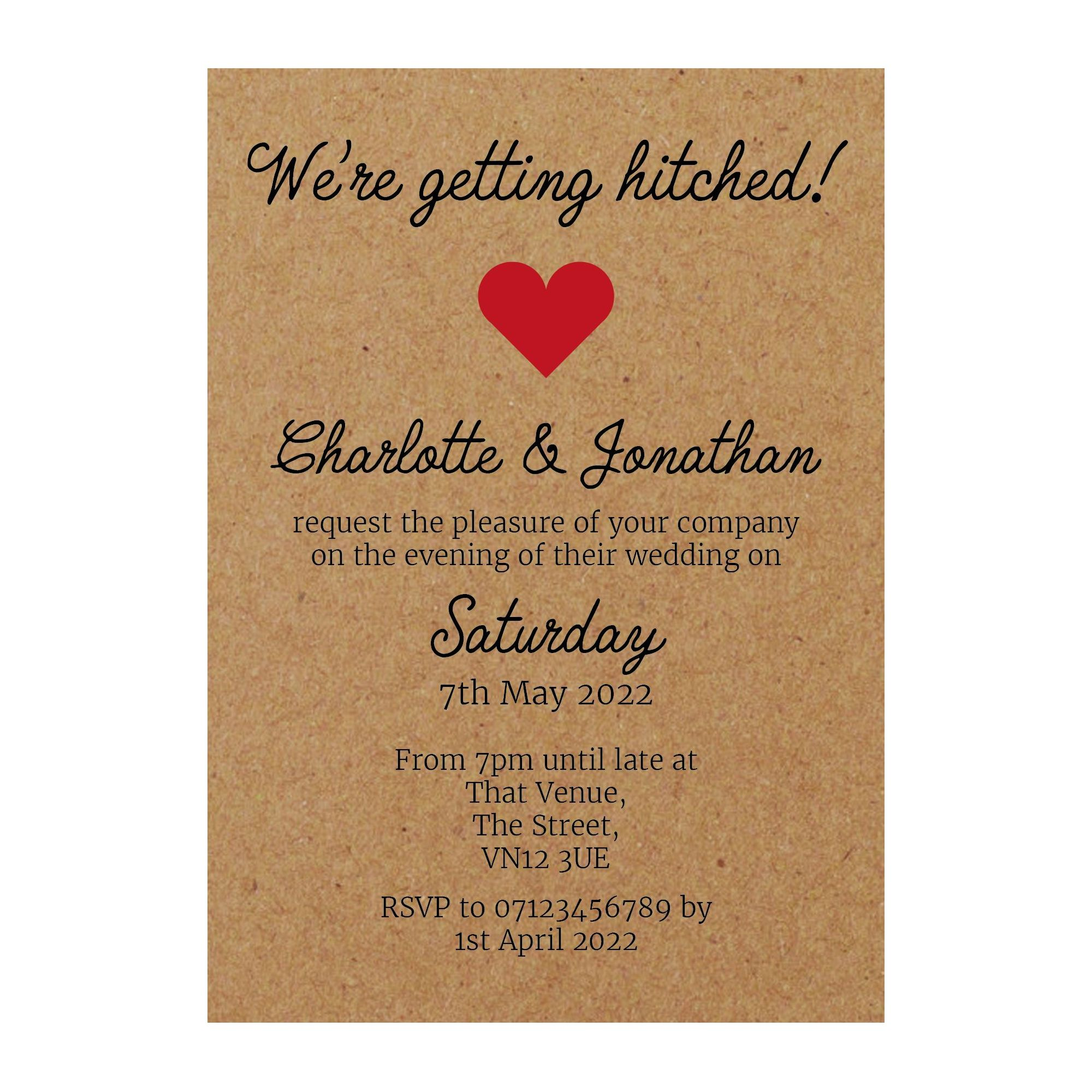 Recycled Brown Kraft We're Getting Hitched Reception Invitations