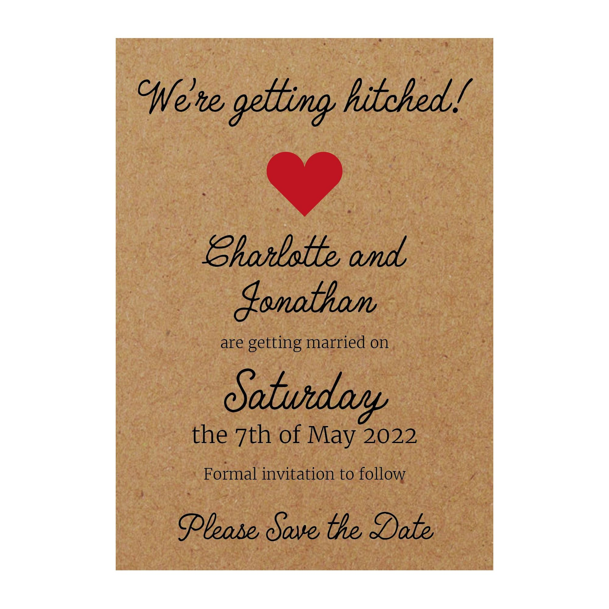 Recycled Brown Kraft We're Getting Hitched Save the Date Cards