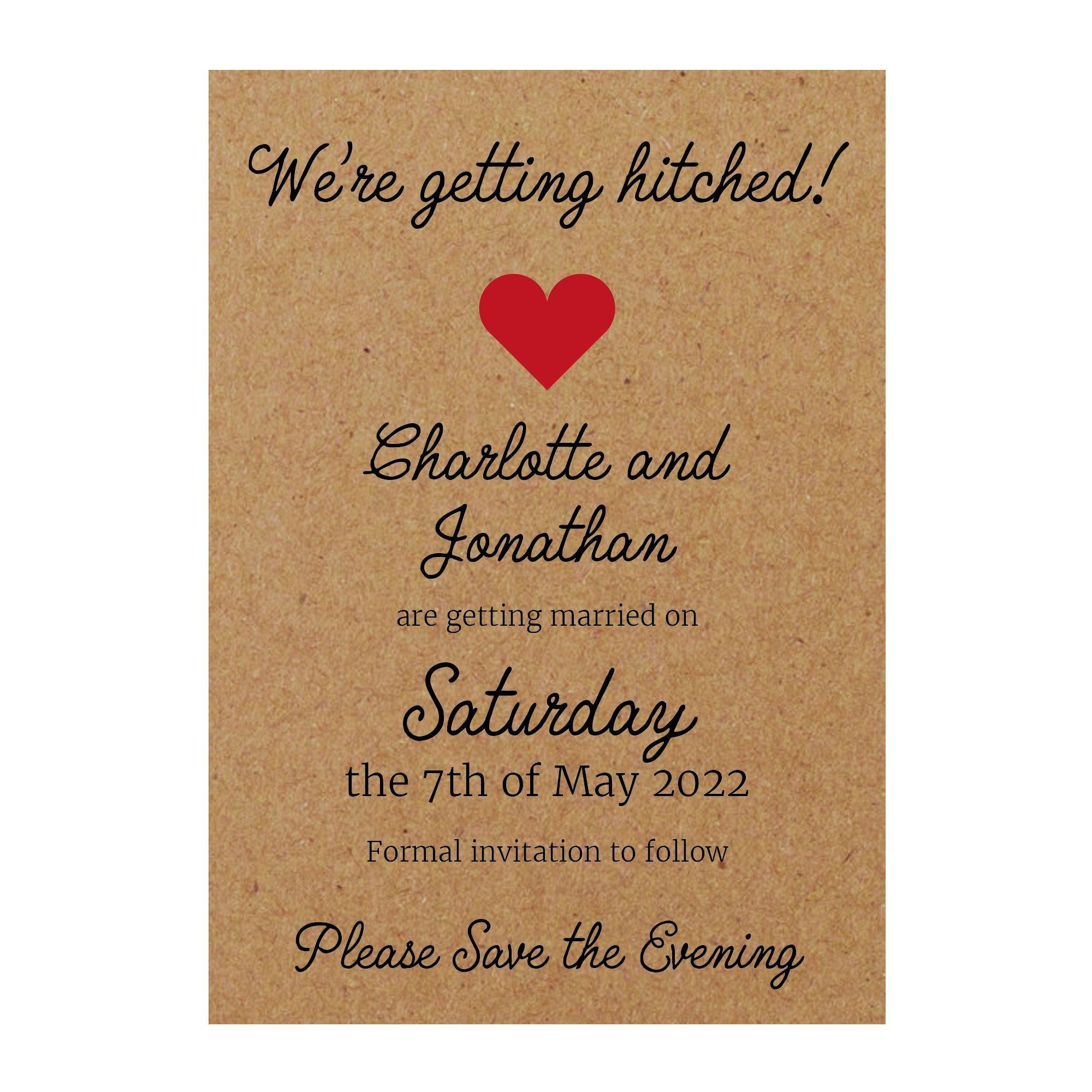 Recycled Brown Kraft We're Getting Hitched Save the Evening Cards