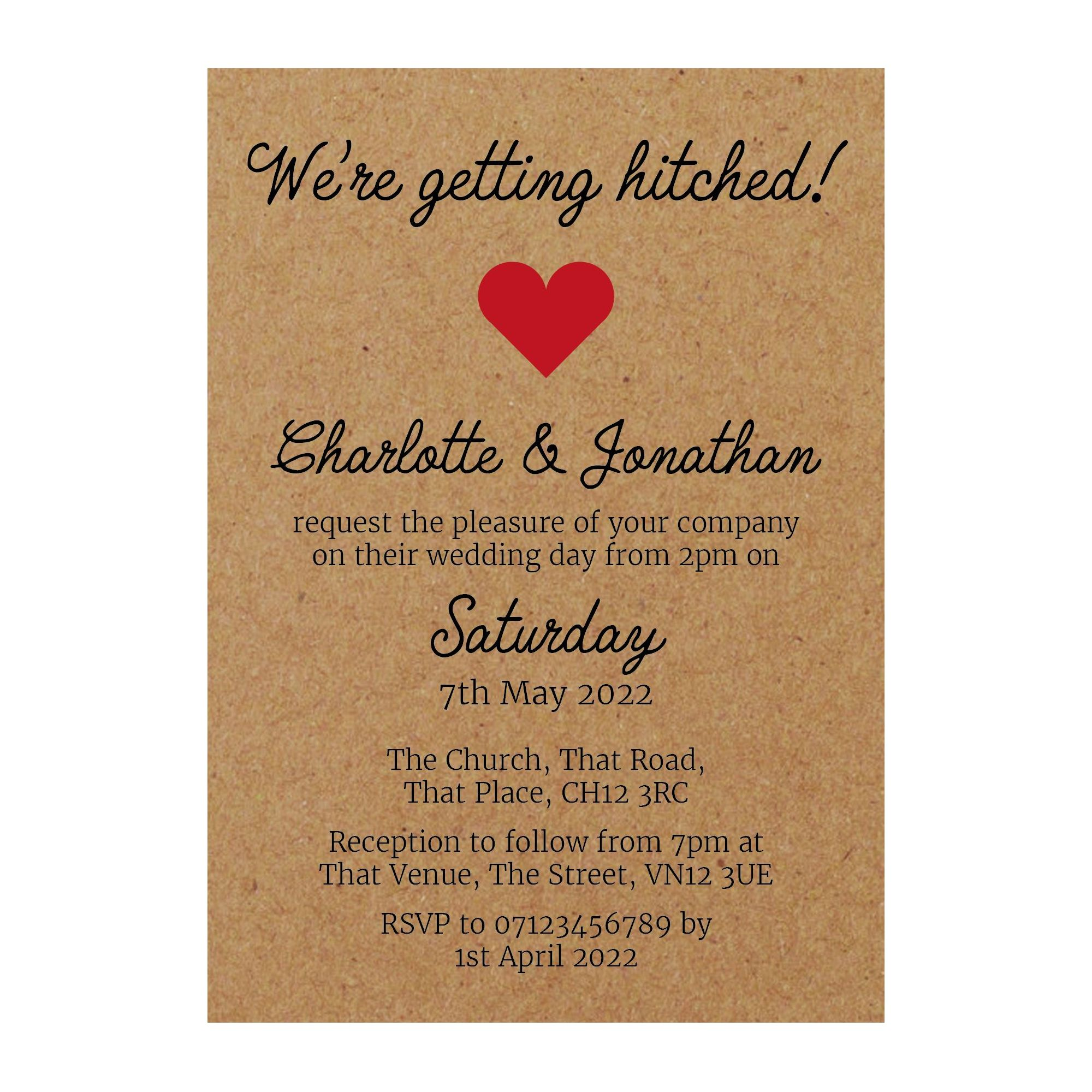Recycled Brown Kraft We're Getting Hitched Wedding Invitations