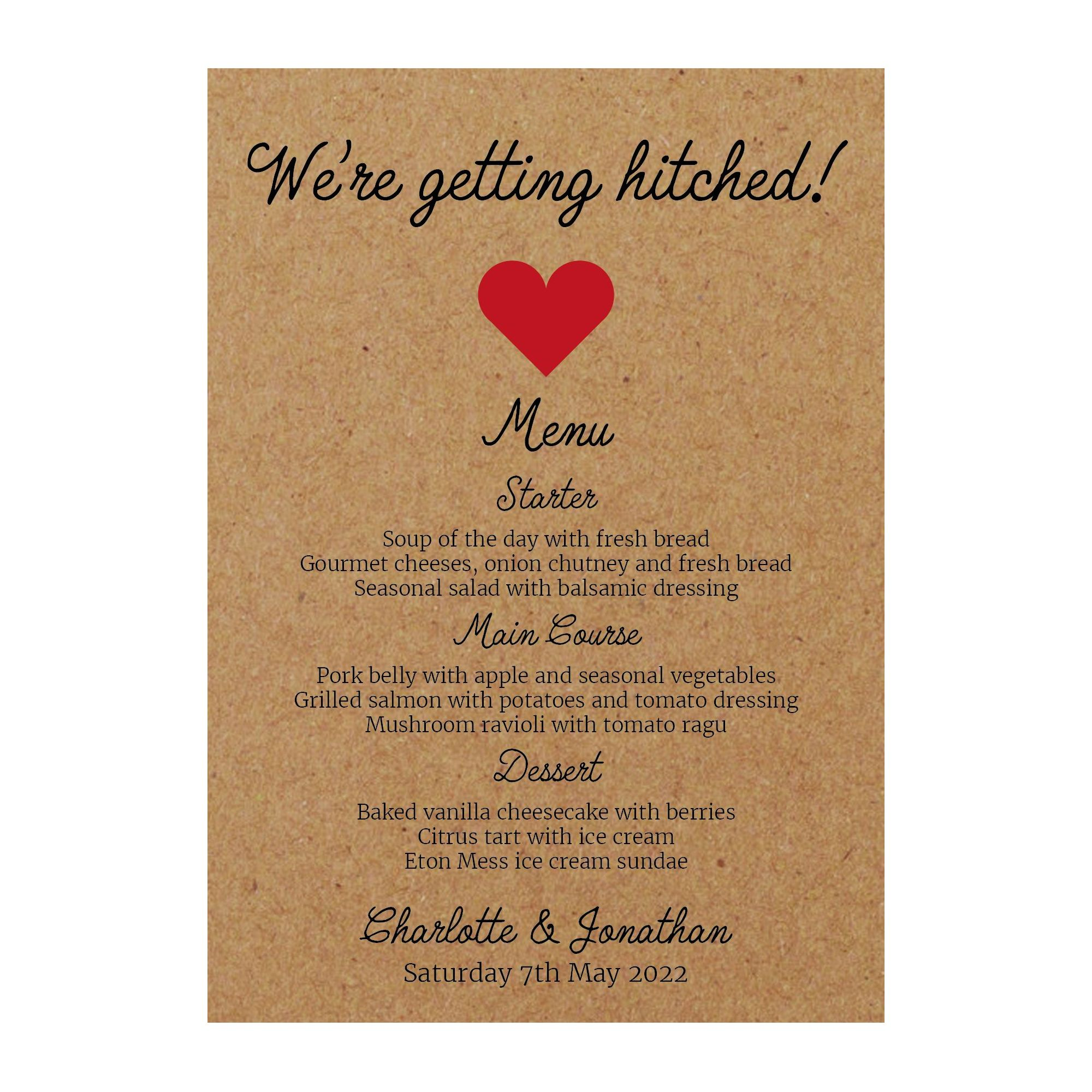 Recycled Brown Kraft We're Getting Hitched Menu Cards