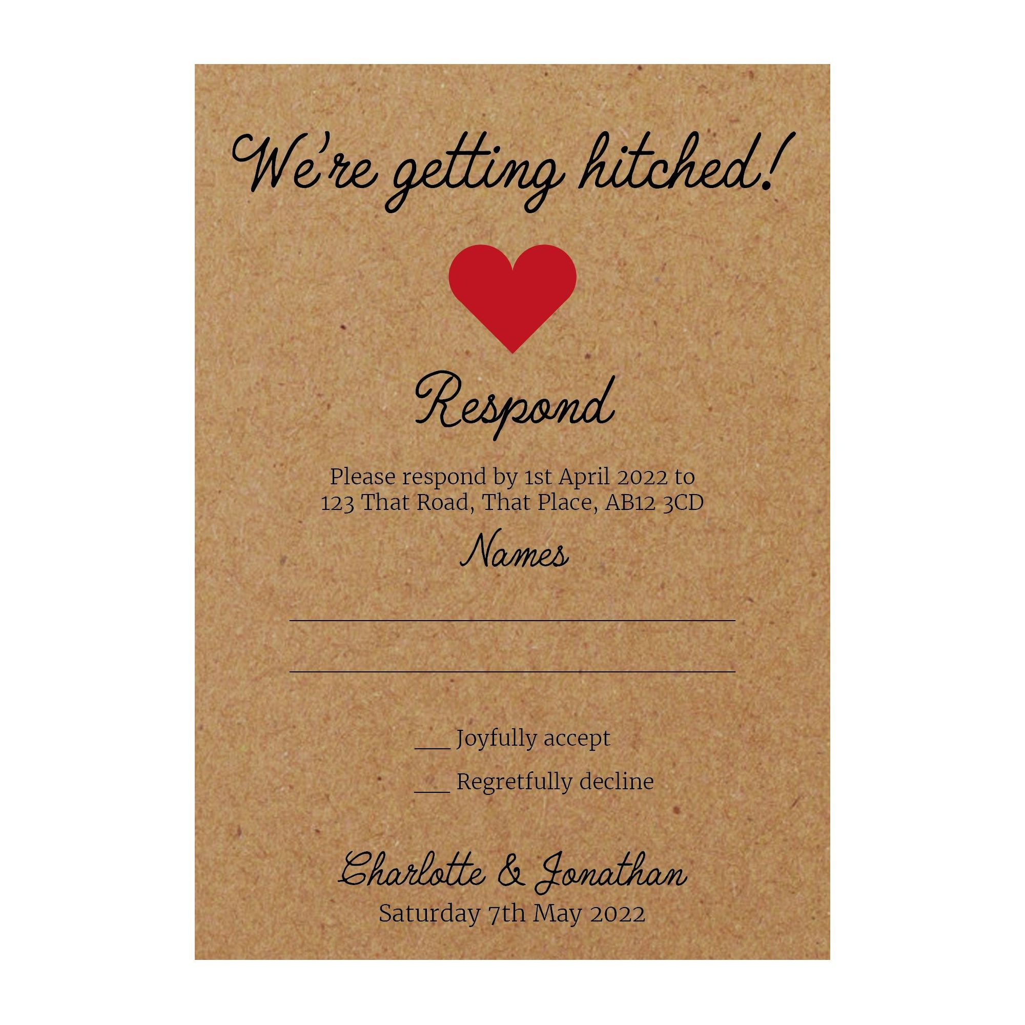 Recycled Brown Kraft We're Getting Hitched RSVP Cards