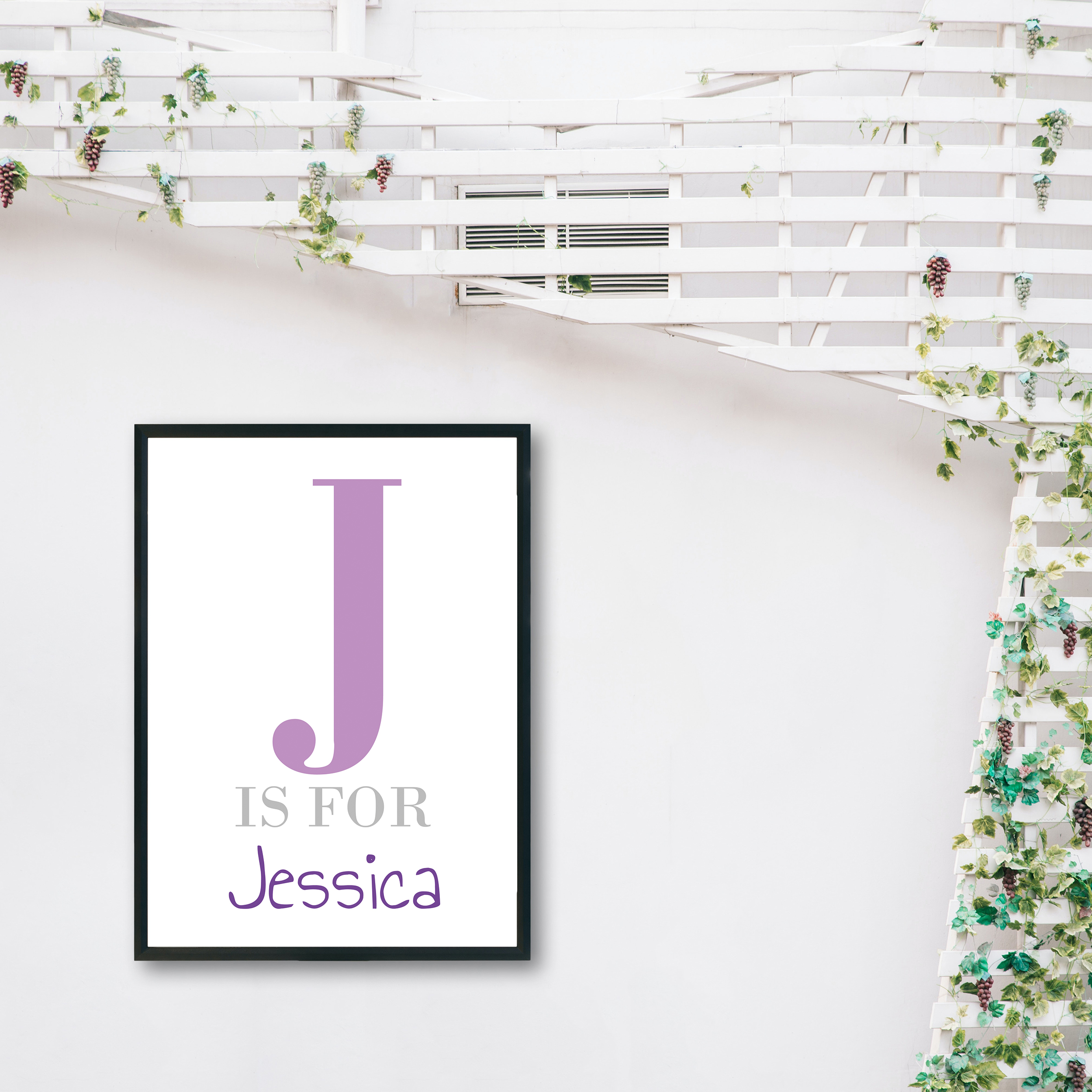 Initial & Name Kids Bedroom Recycled Wall Print