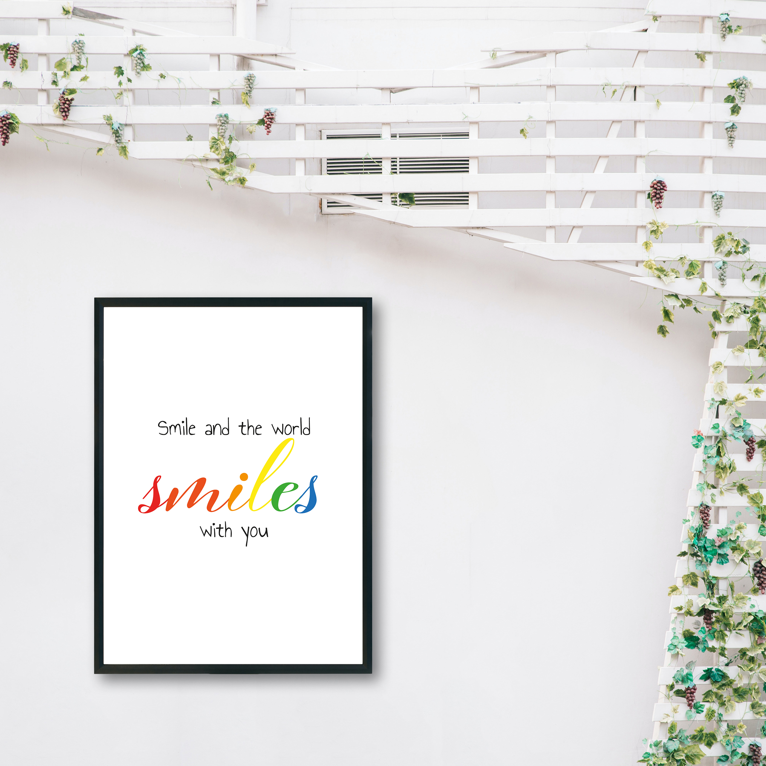 Smile and the World Smiles With You Rainbow Recycled Wall Print