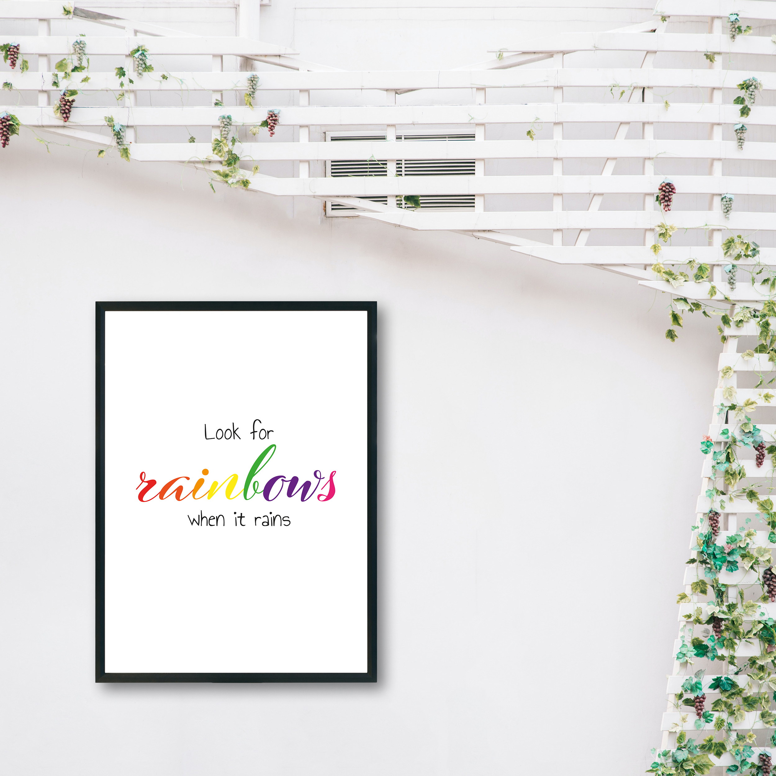 Look For Rainbows When It Rains Rainbow Recycled Wall Print