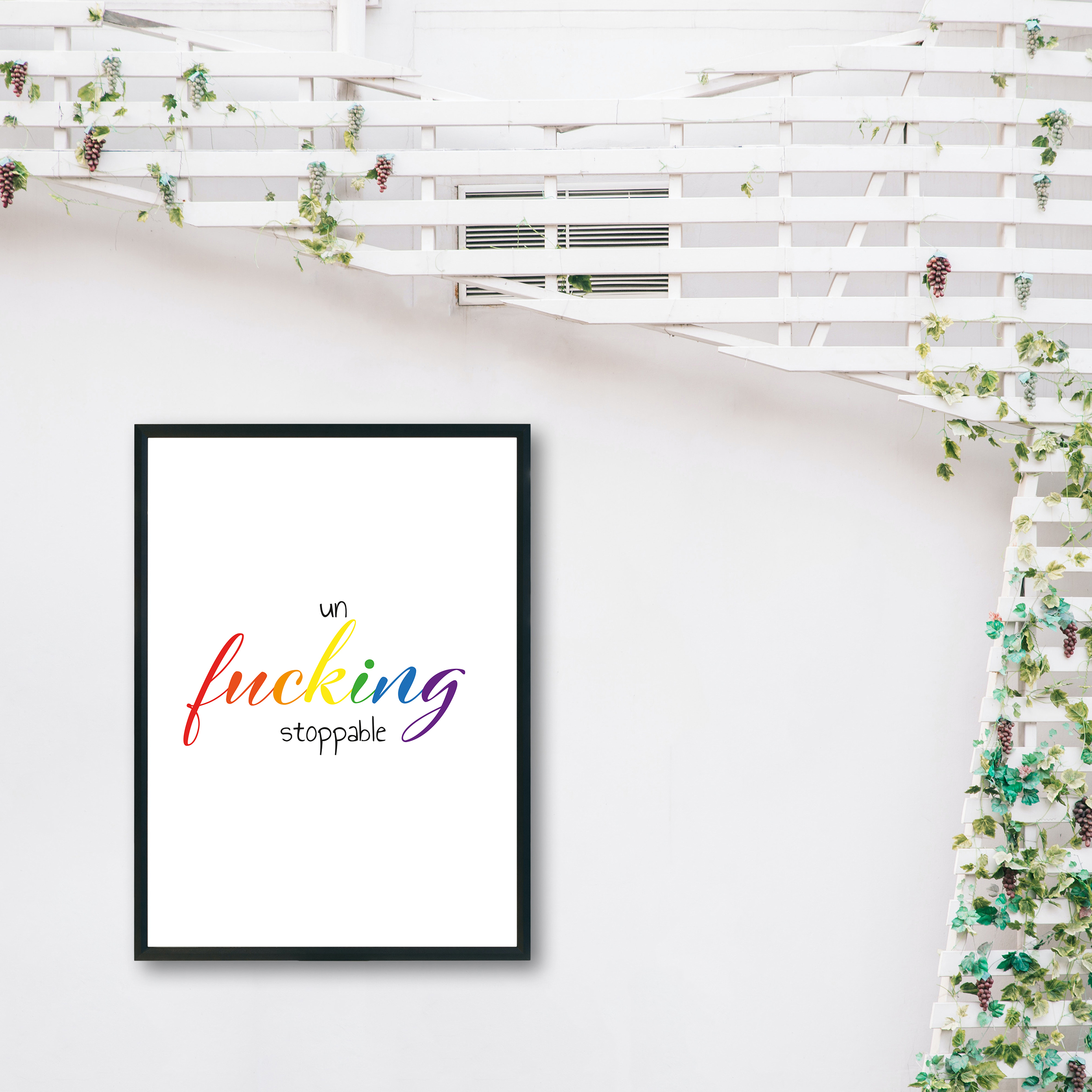 Un-Fucking-Stoppable Rainbow Recycled Wall Print