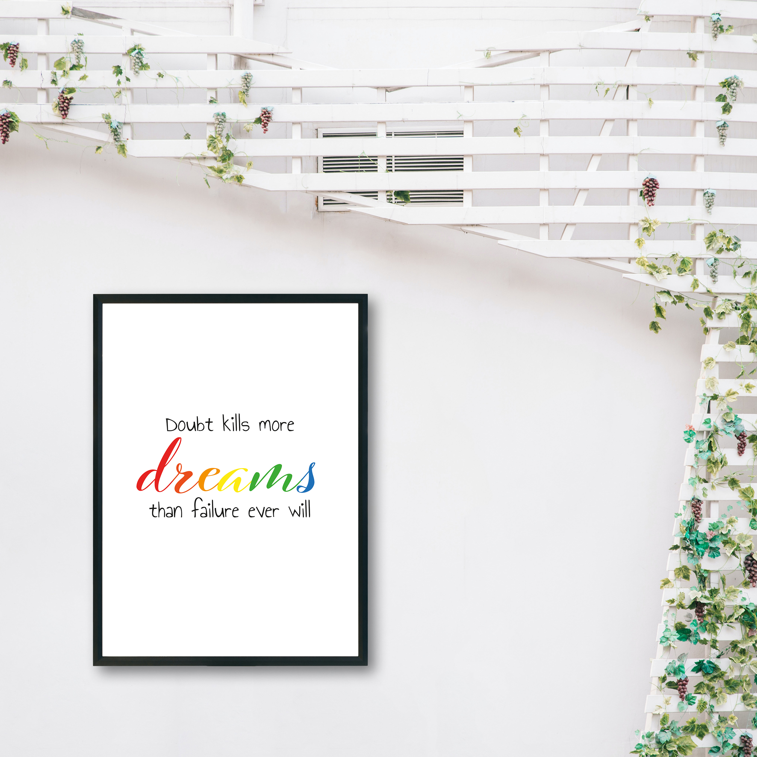 Doubt Kills More Dreams Than Failure Ever Will Rainbow Recycled Wall Print