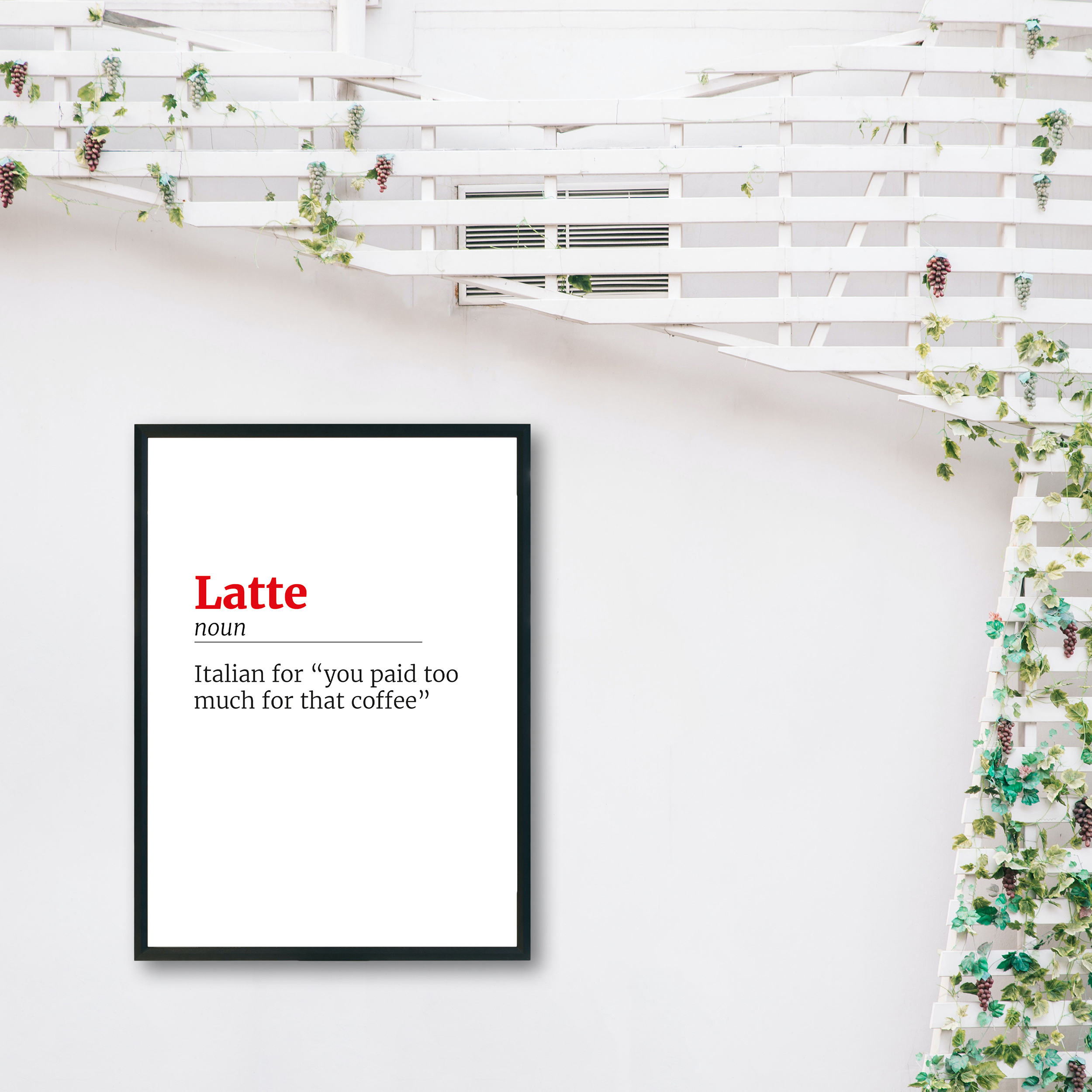 Latte Honest Definition Recycled Wall Print