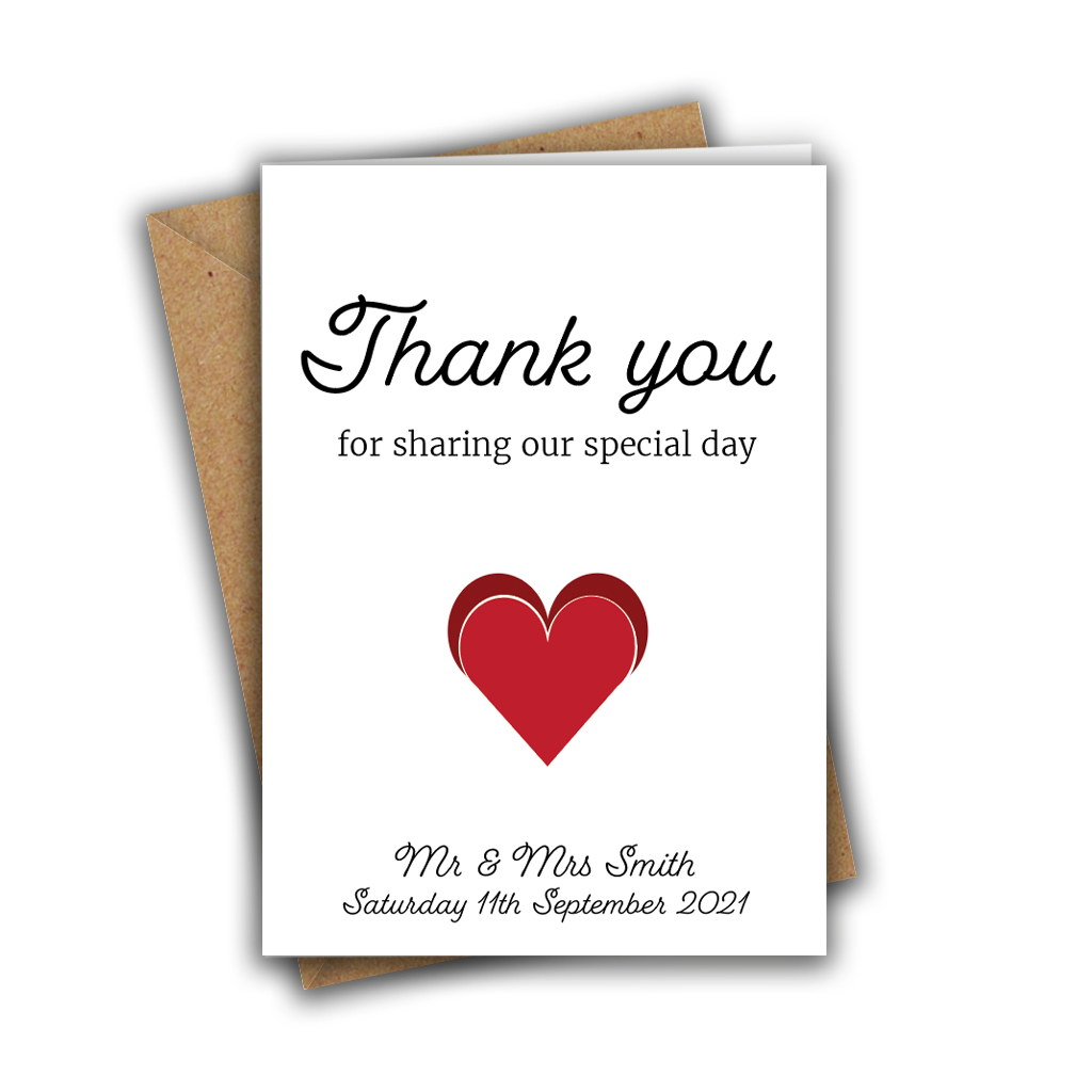 Thank You For Sharing Our Special Day Custom A5 Greeting Card
