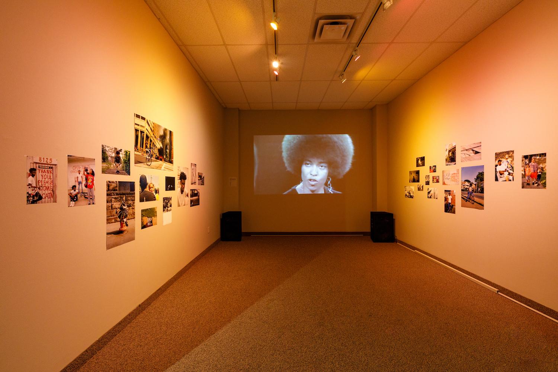 Video installation at art exhibition