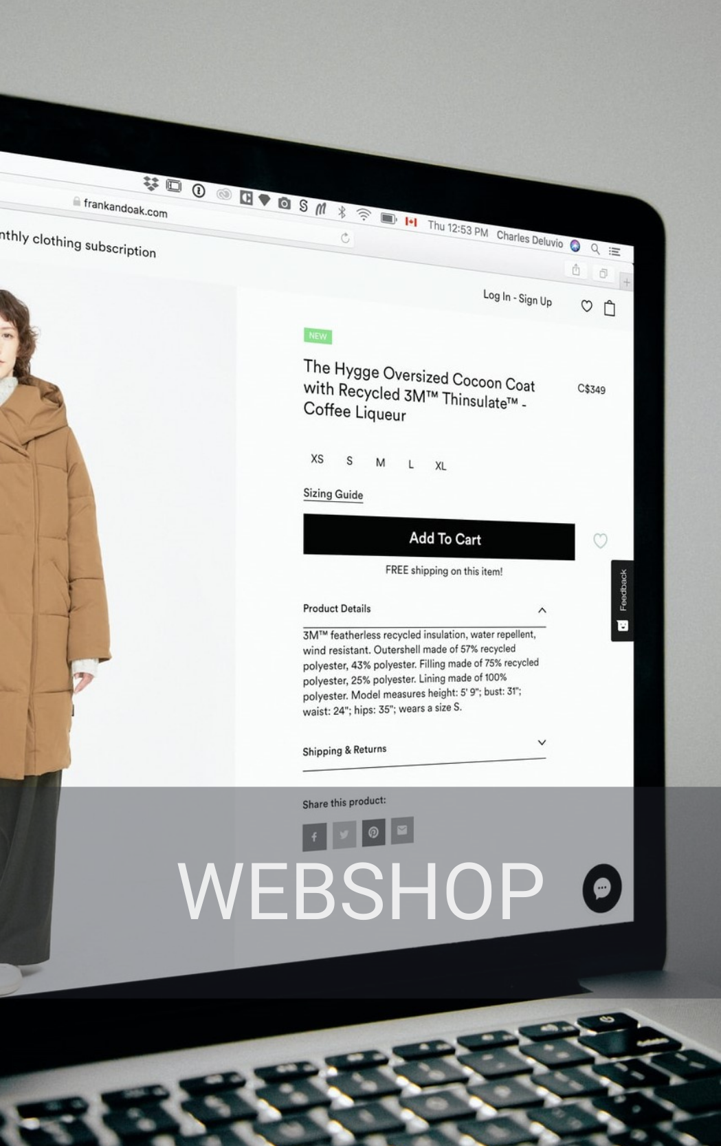 A Webshop in the late state of a purchase of a jacket. Macbook.