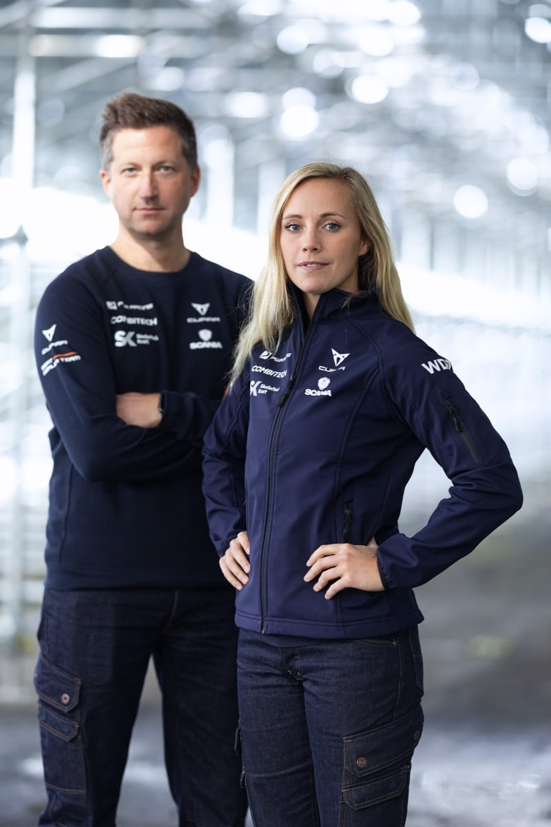 Two racecar drivers in our custom-made clothing